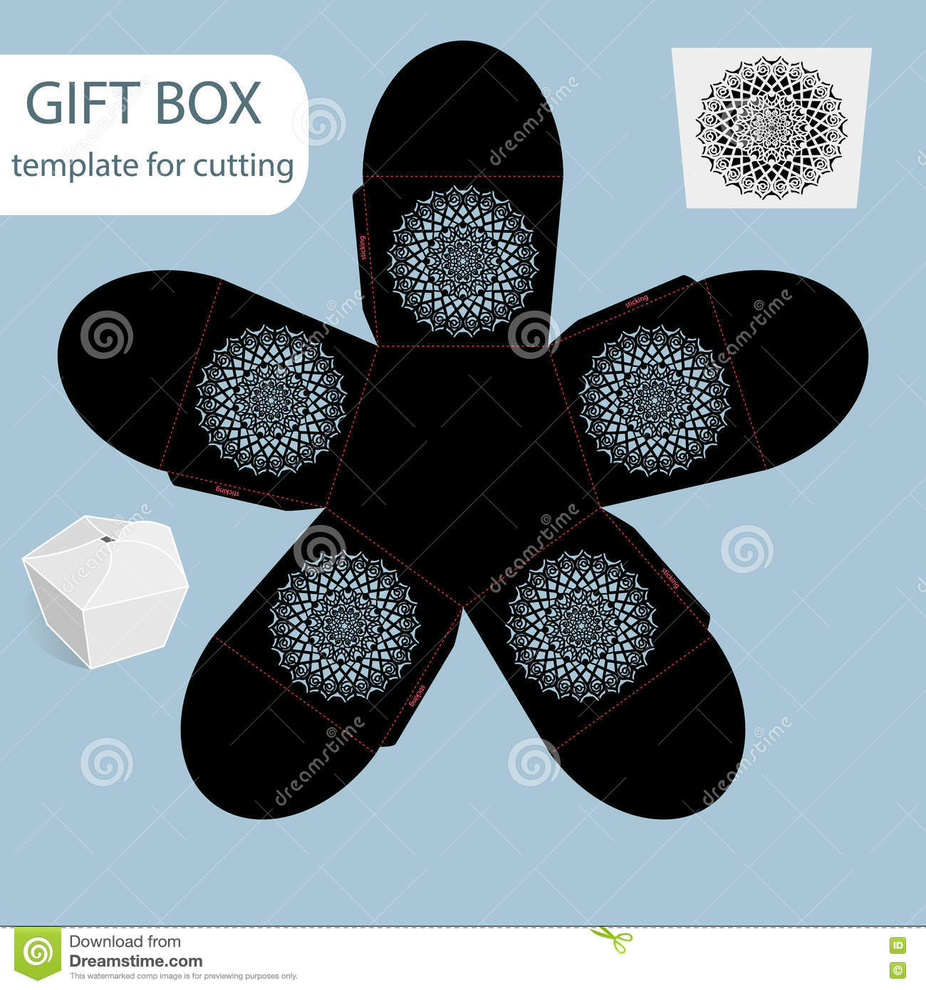 openwork gift paper box lace pattern pentagonal bottom cut out