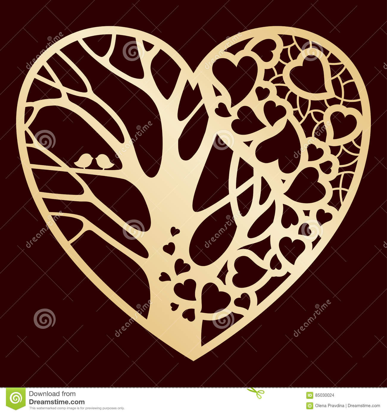 Openwork Golden Heart With A Tree Inside Laser Cutting Or Foiling