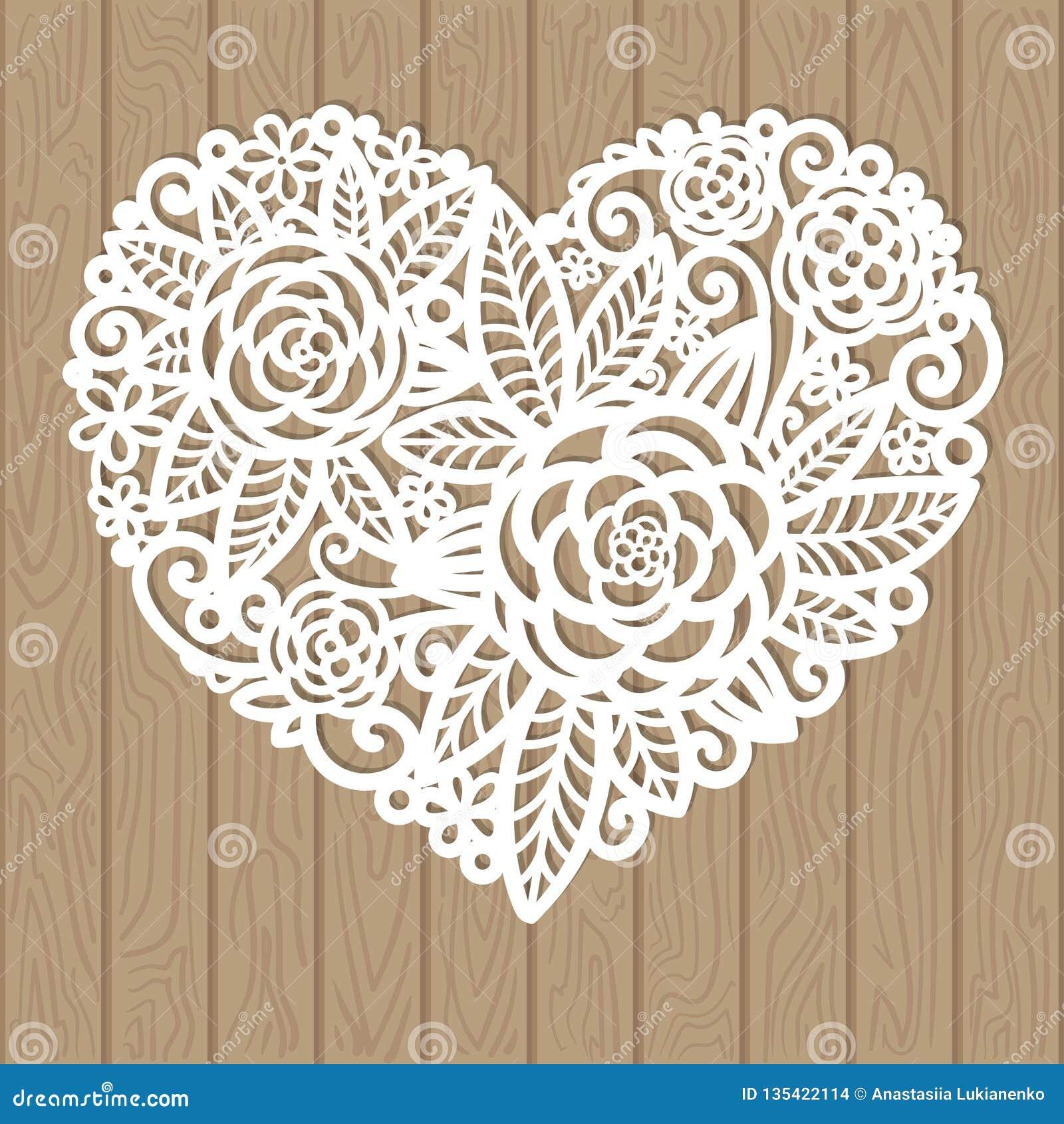 Openwork hart met bloemen Vector decoratief element