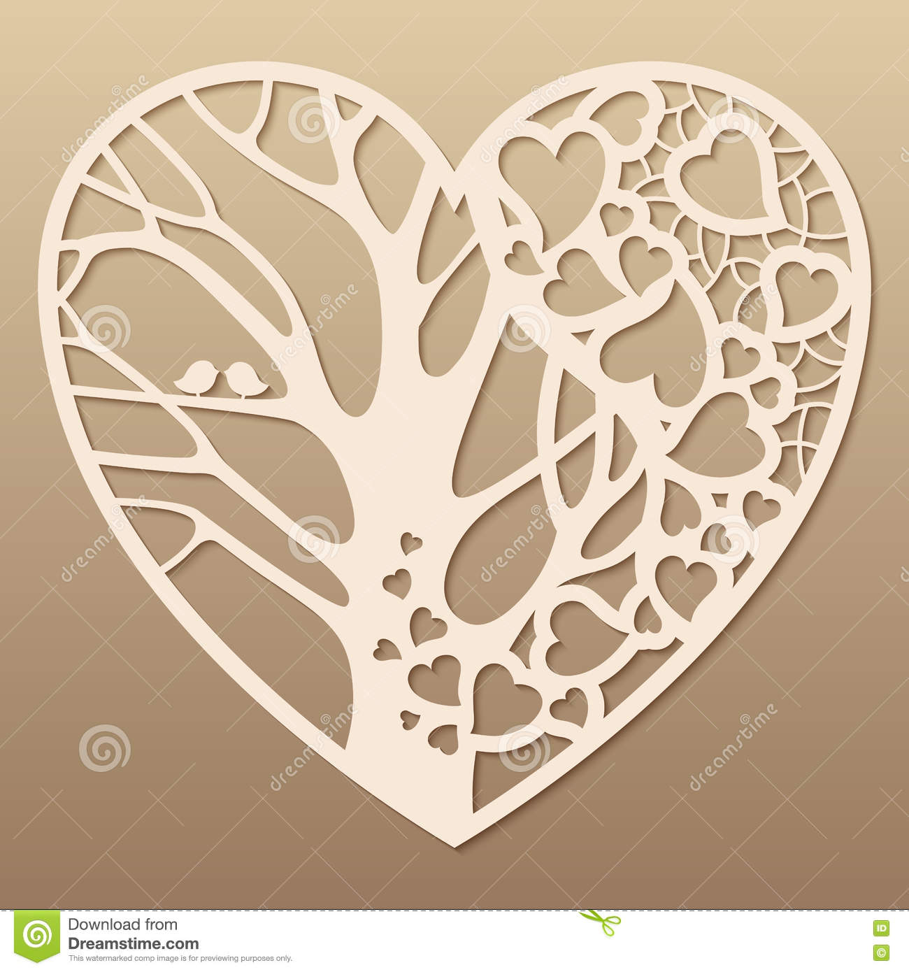 Openwork heart with a tree inside stock vector for Free laser cutter templates