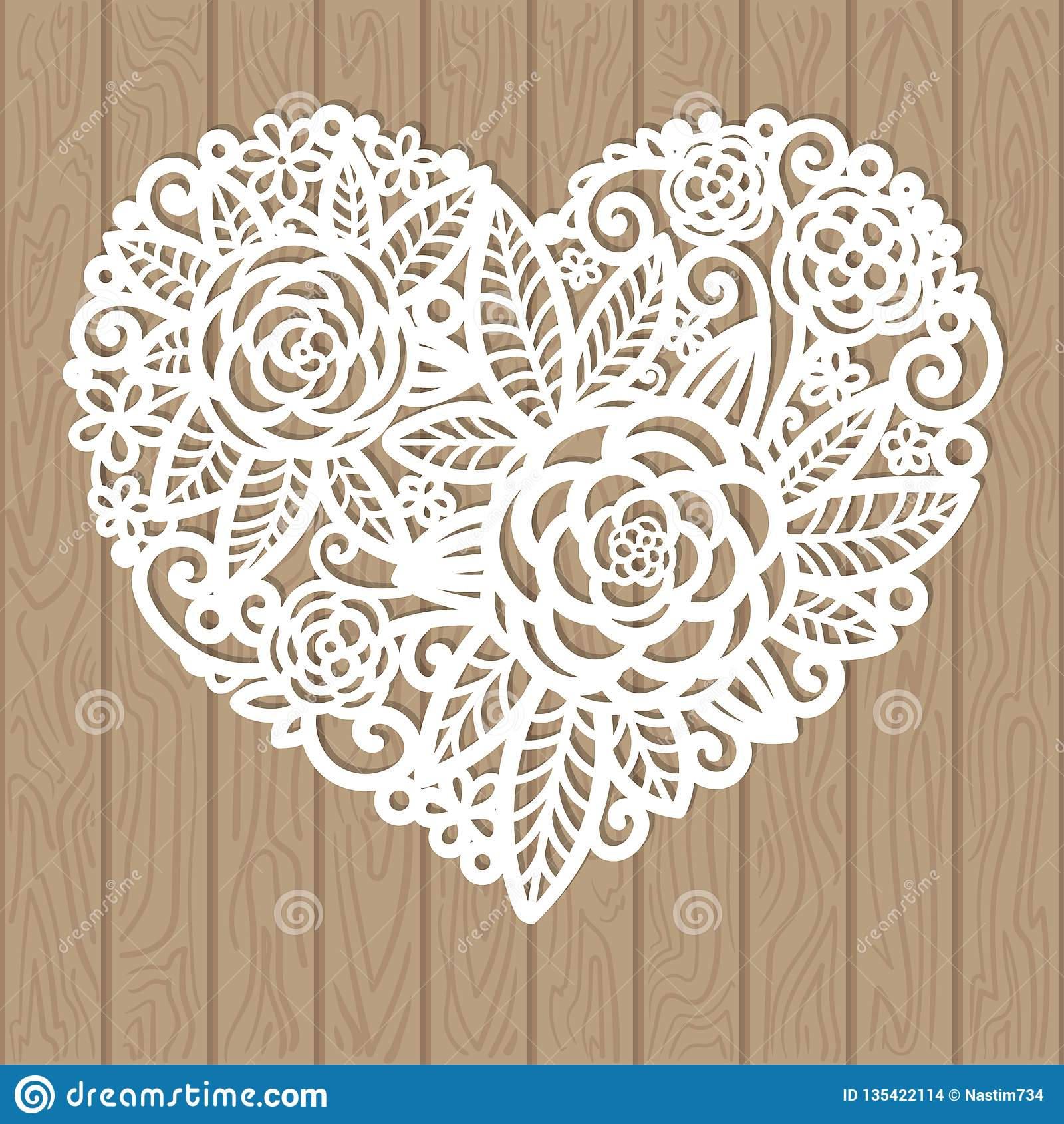 Openwork Herz mit Blumen Vektordekoratives Element