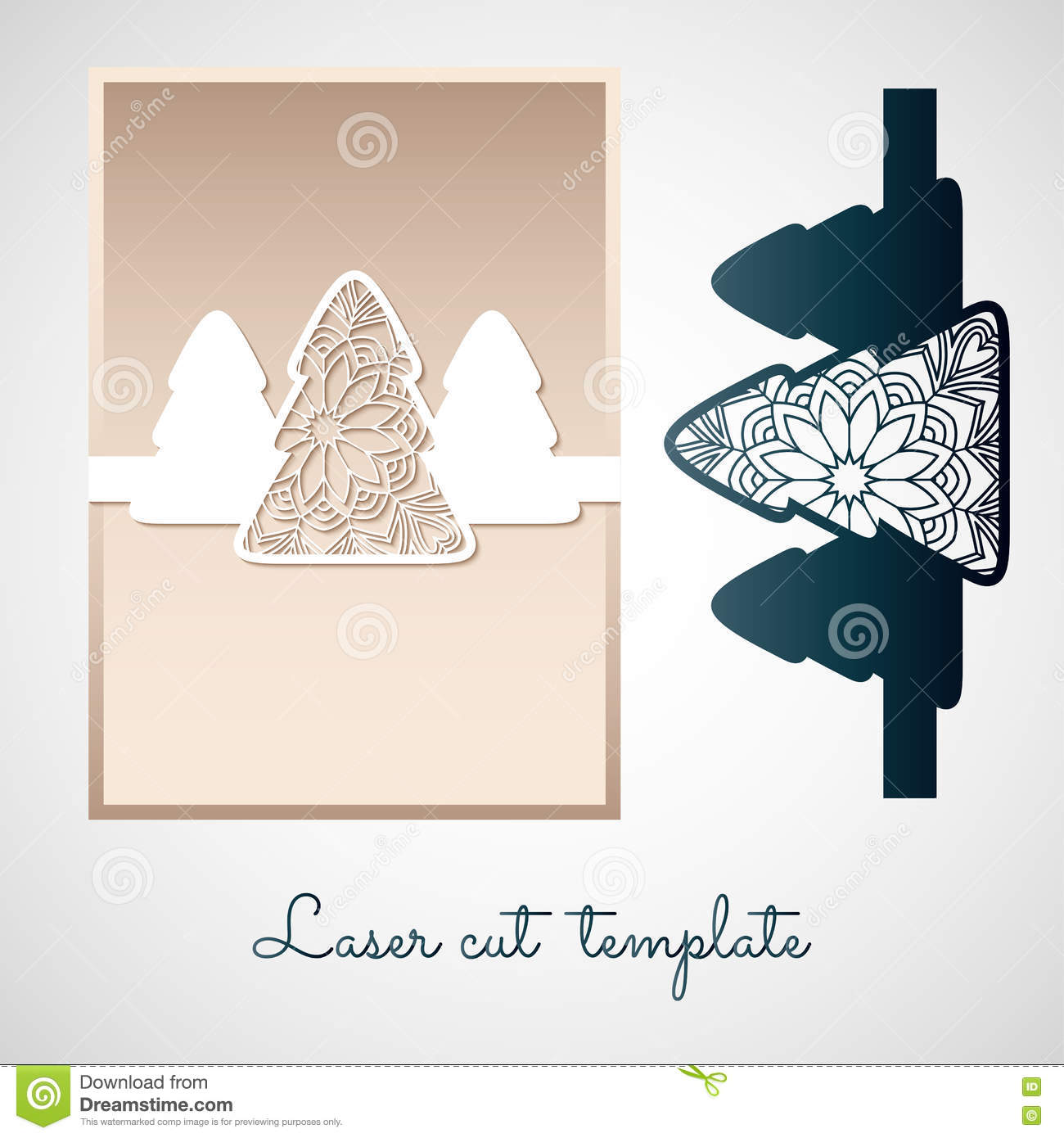 Openwork Christmas Tree. Laser Cutting Template. Stock Vector ...