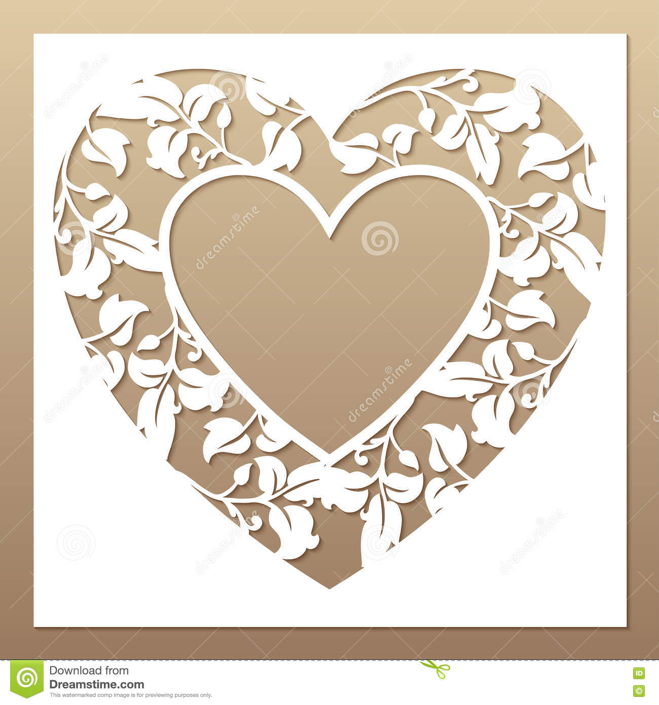 free laser cutter templates - openwork white frame with heart and leaves stock vector