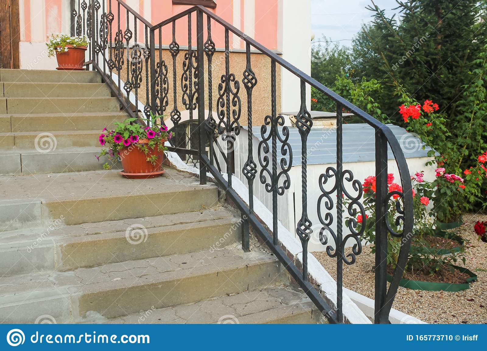 Image of: Openwork Wrought Iron Railing Stairs Stock Photo Image Of Stairs Decorative 165773710