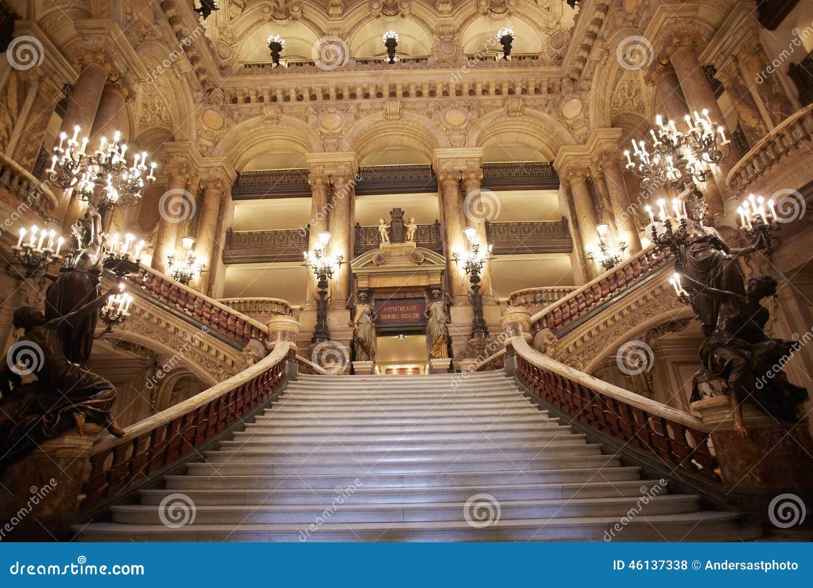 Opera Garnier Stairway Interior In Paris Editorial Stock