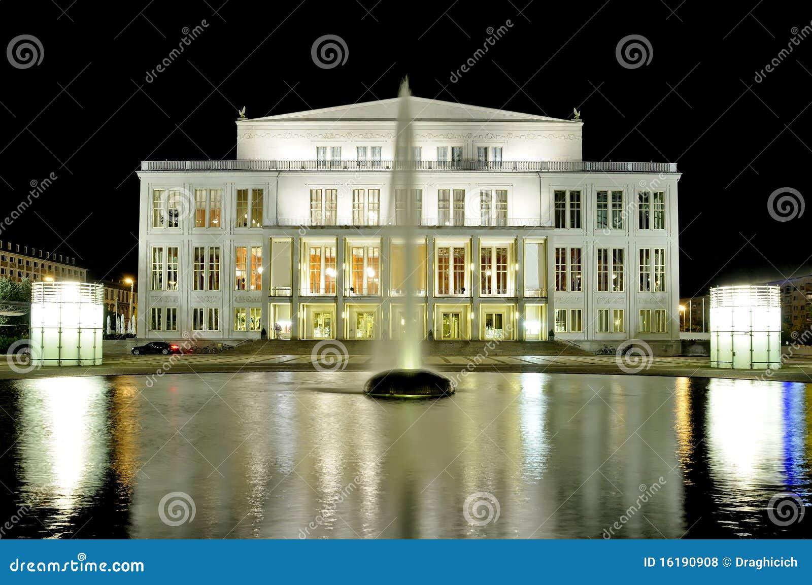 Opera House In Leipzig At Night Stock Photo Image Of Platz Opernhaus 16190908