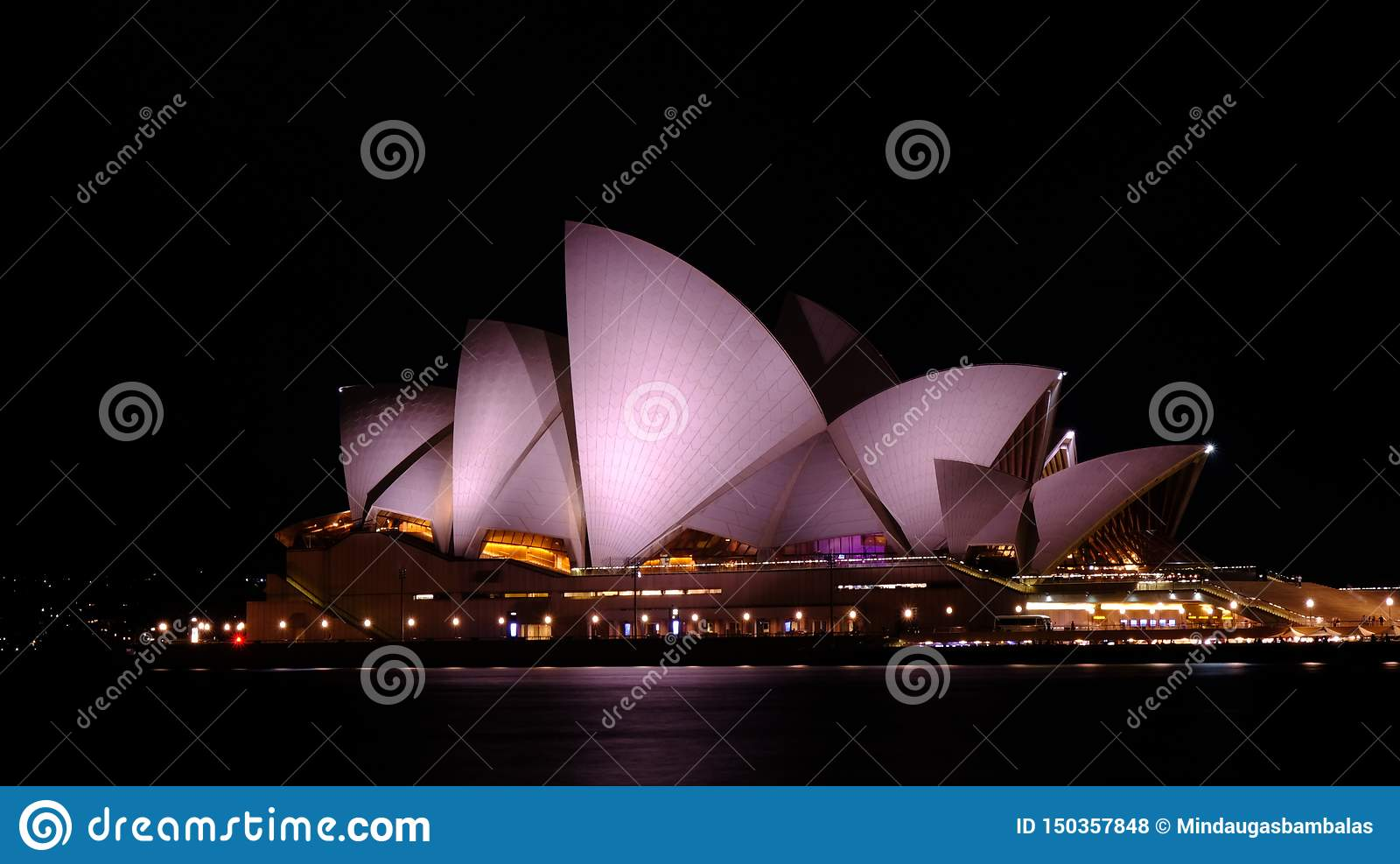 Opera house at night in Sydney