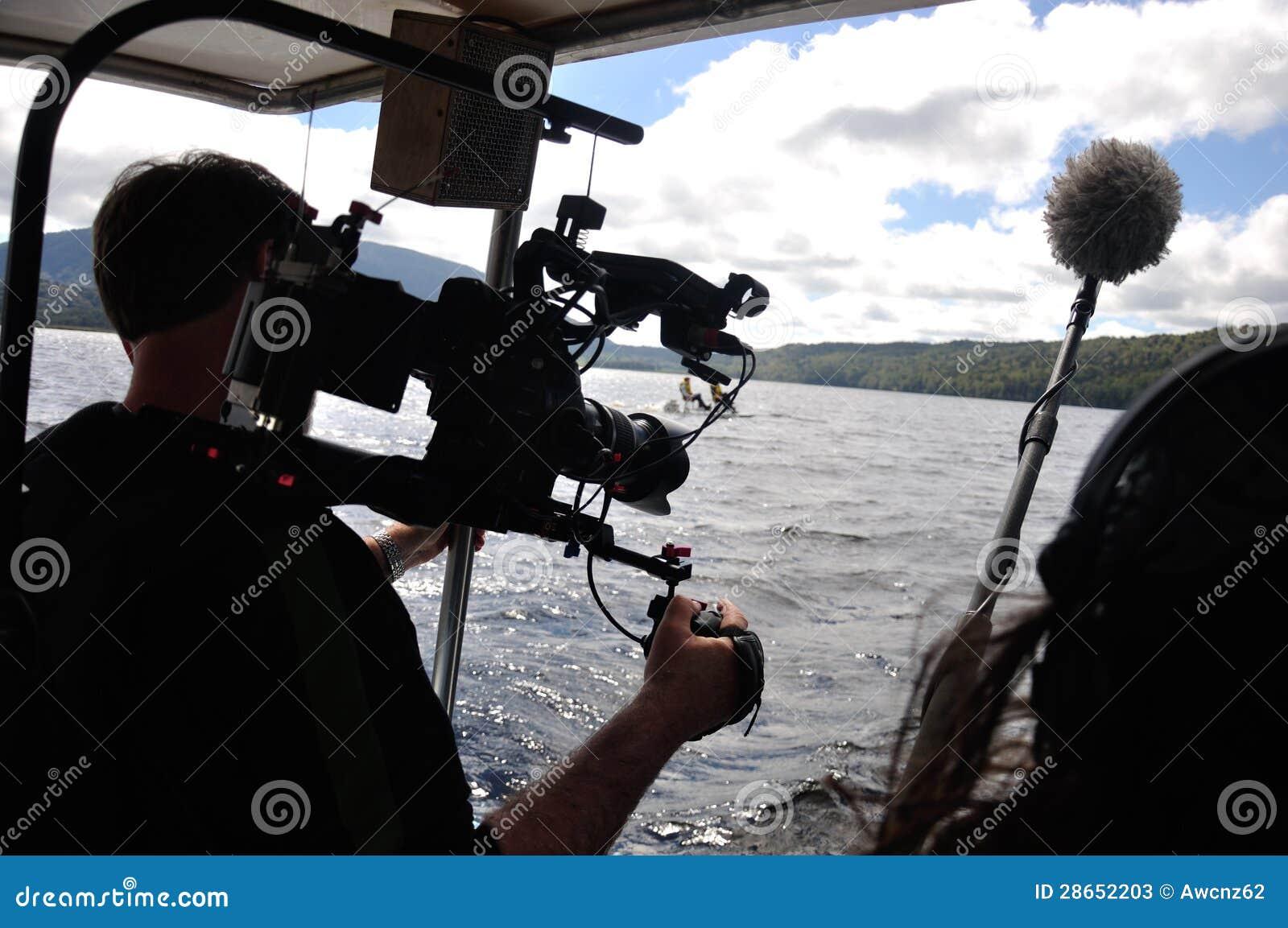 Operador cinematográfico no trabalho