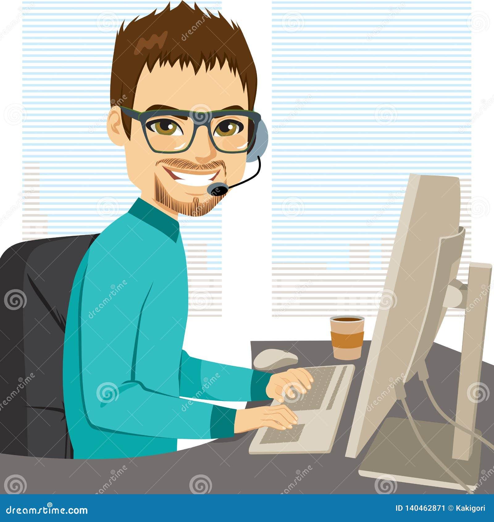 Operador de centro de atención telefónica de la ayuda