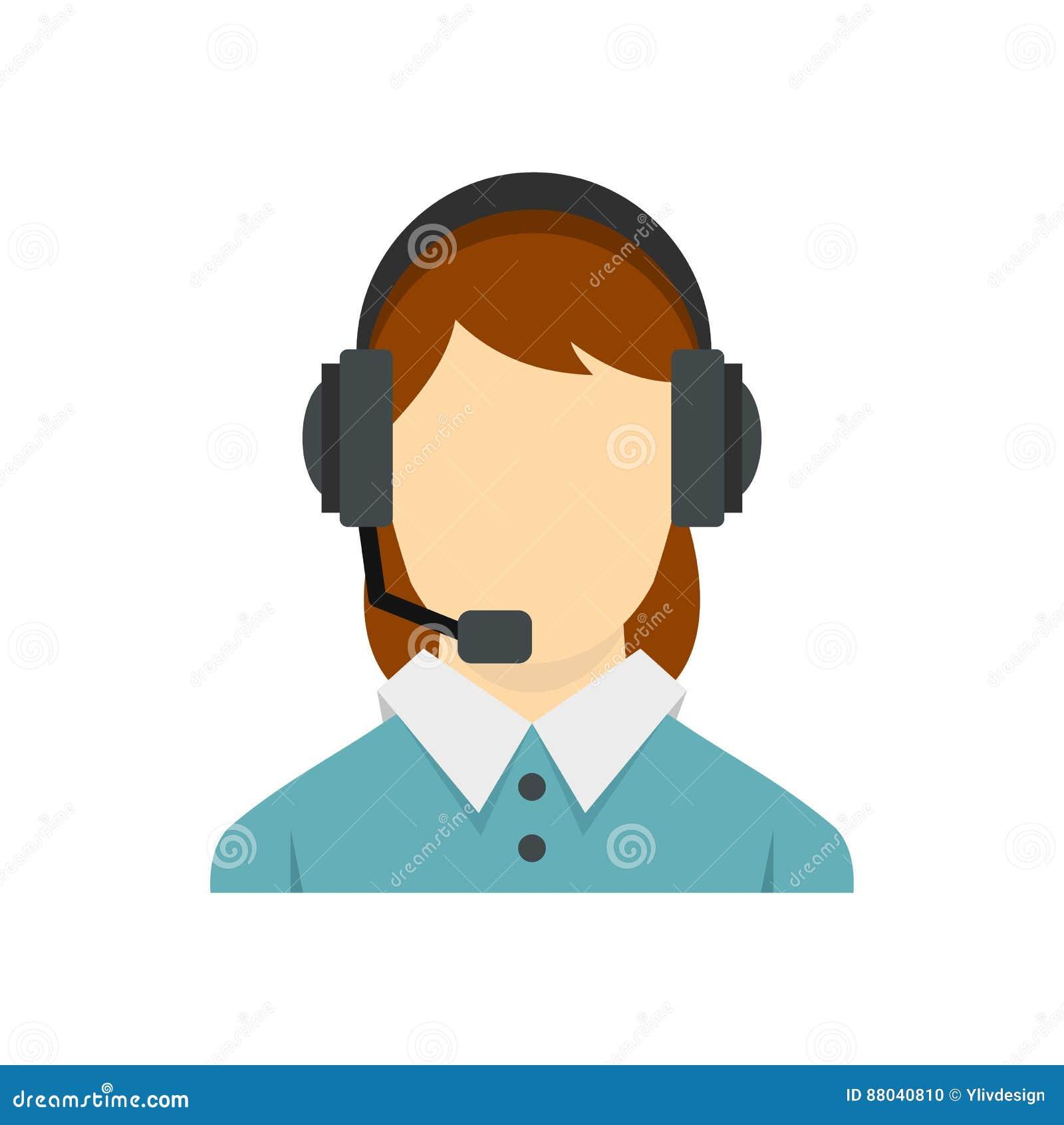 Operador de centro de atendimento com ícone dos auriculares do telefone