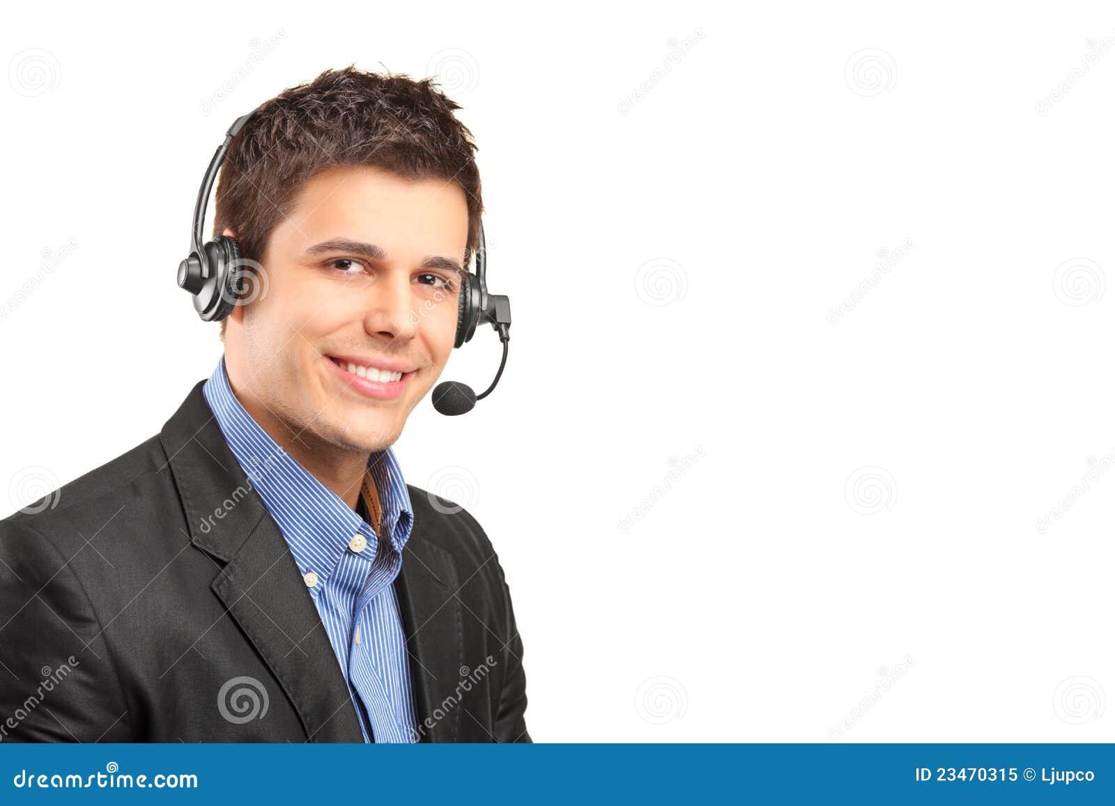 4b94f5e6c56 Operador do serviço de atenção a o cliente que desgasta uns auriculares