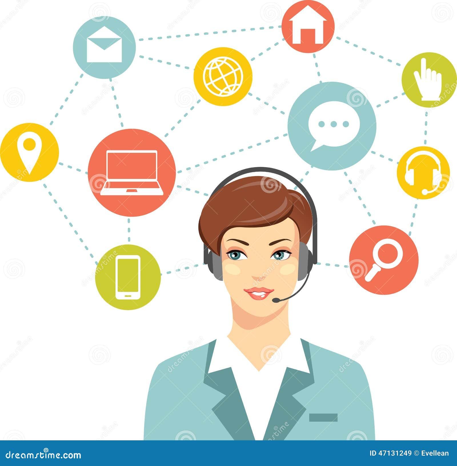 Operador en l nea de la mujer de la atenci n al cliente for Atencion al cliente