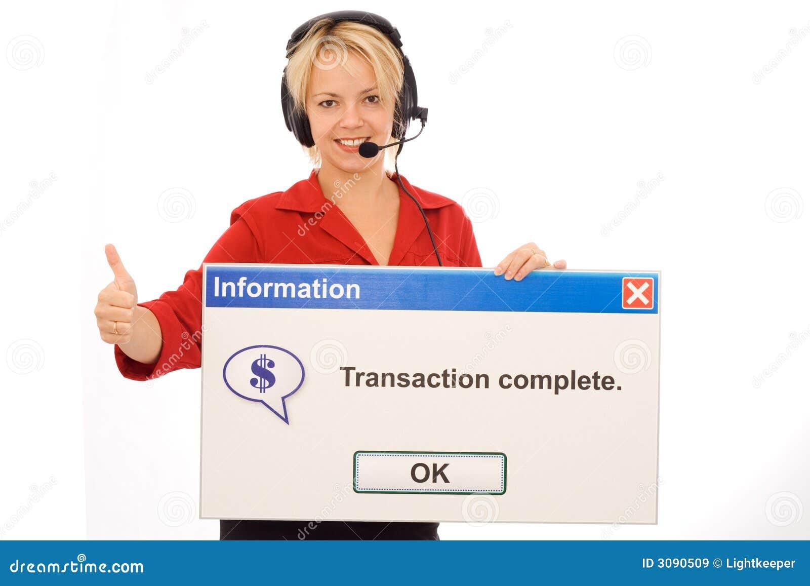 Operador tele amigável da operação bancária