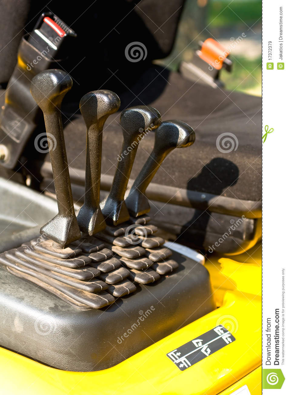 Forklift Control Levers : Operating levers on a forklift truck royalty free stock
