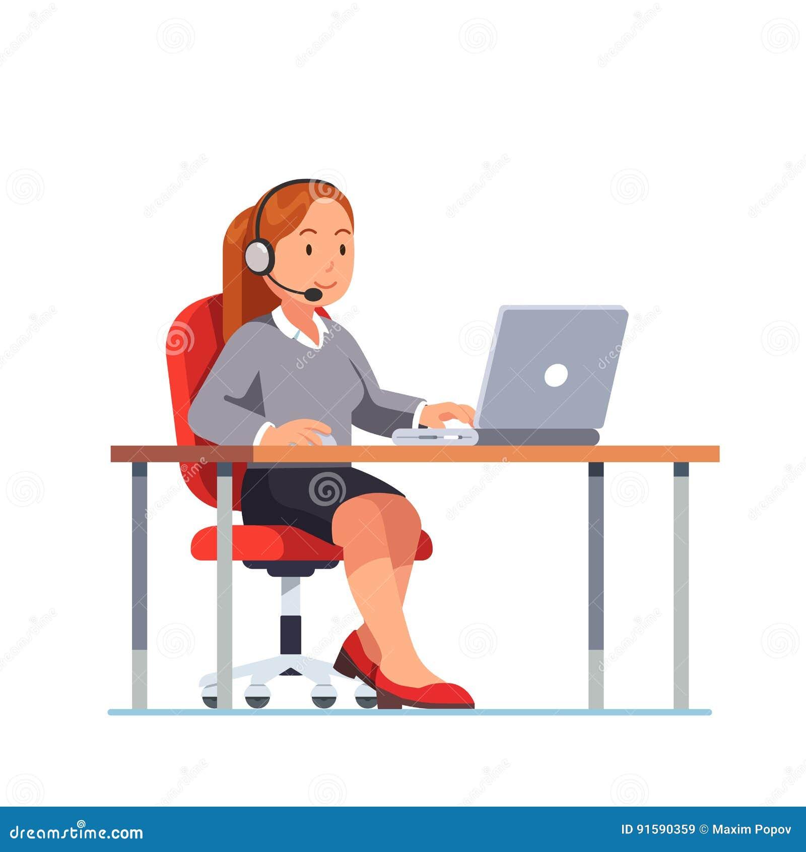 Operator centrum telefonicznego biurowy działanie przy jej biurkiem
