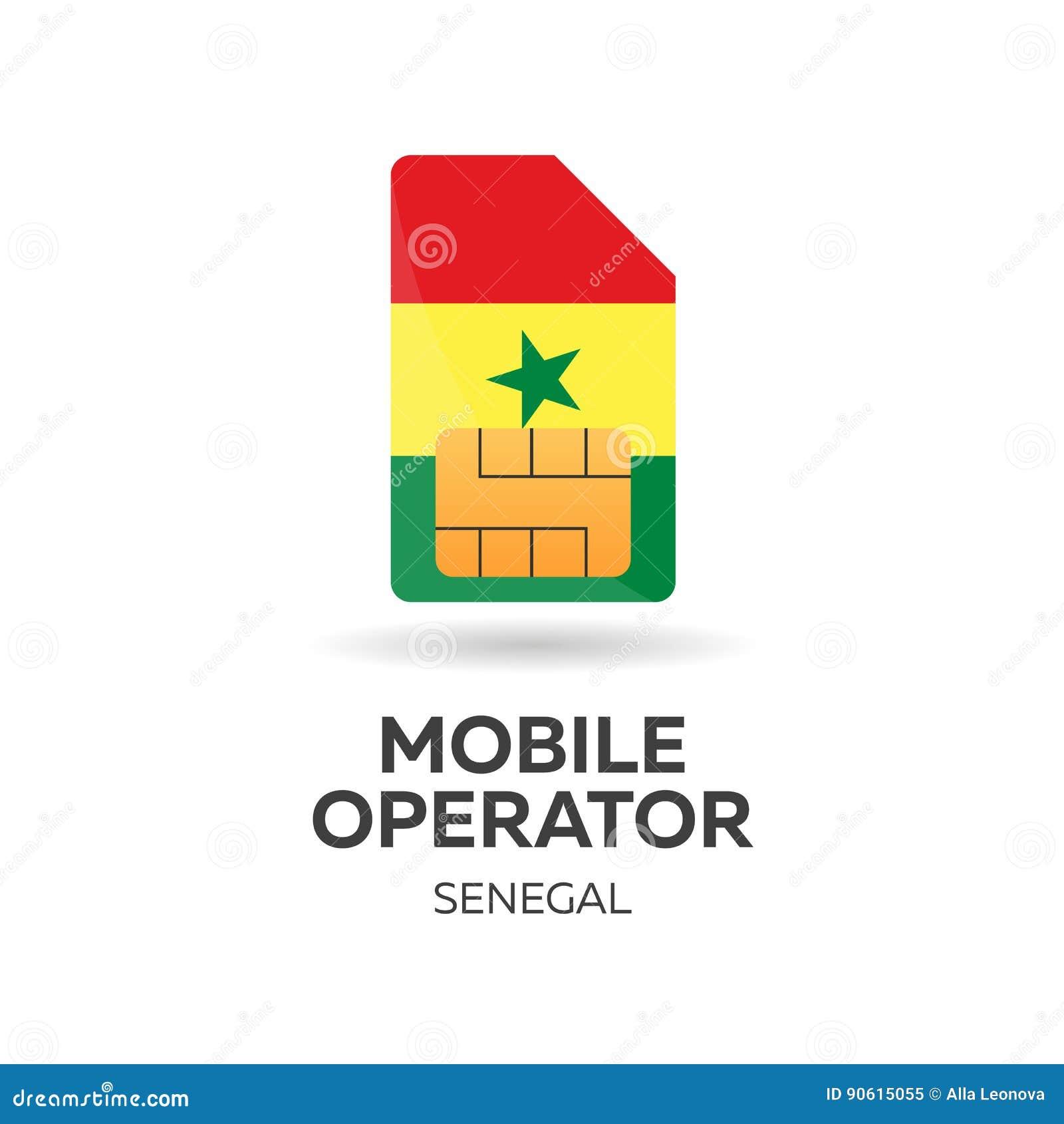 Operatore mobile del Senegal Carta SIM con la bandiera Illustrazione di vettore
