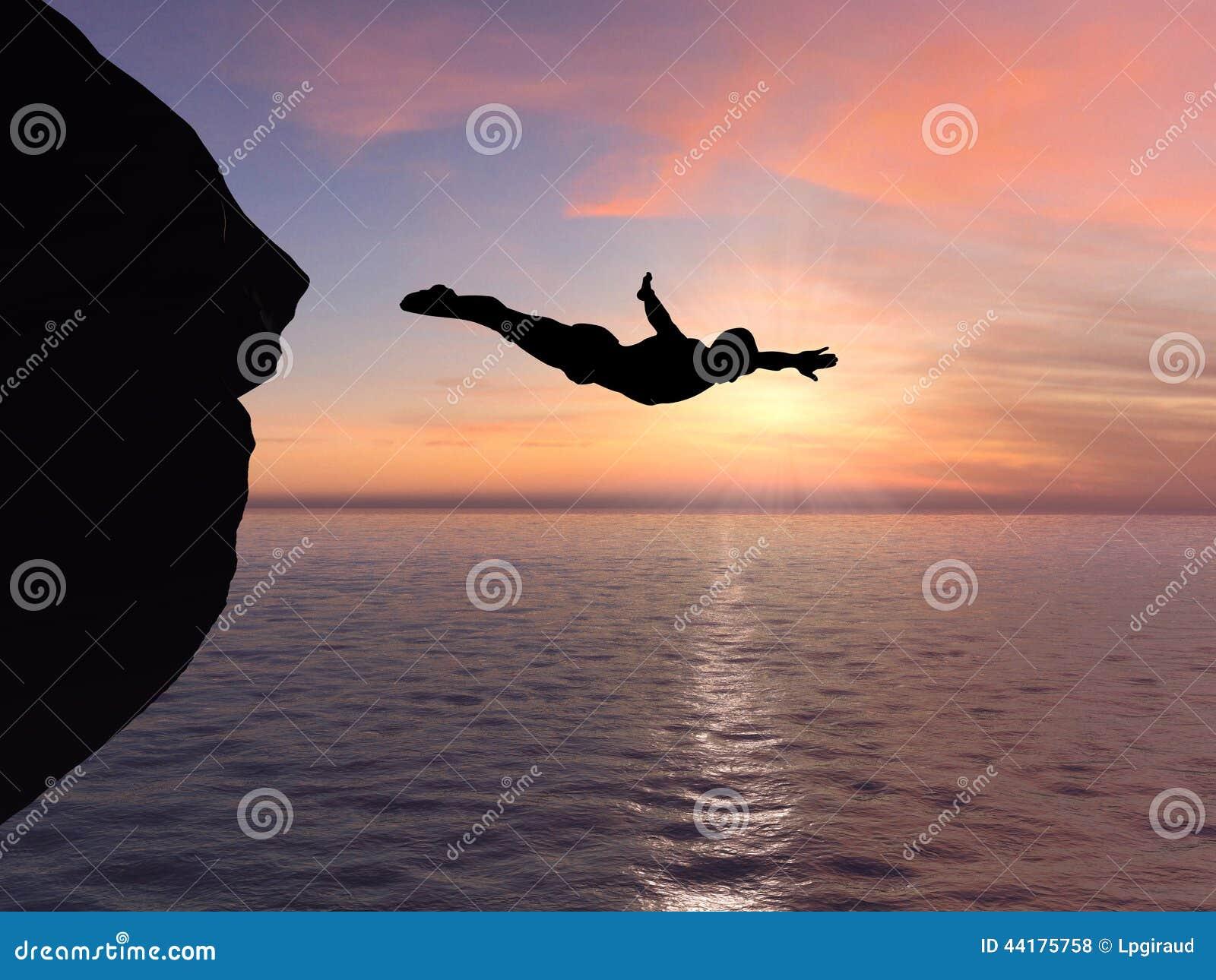 Operatore subacqueo e tramonto