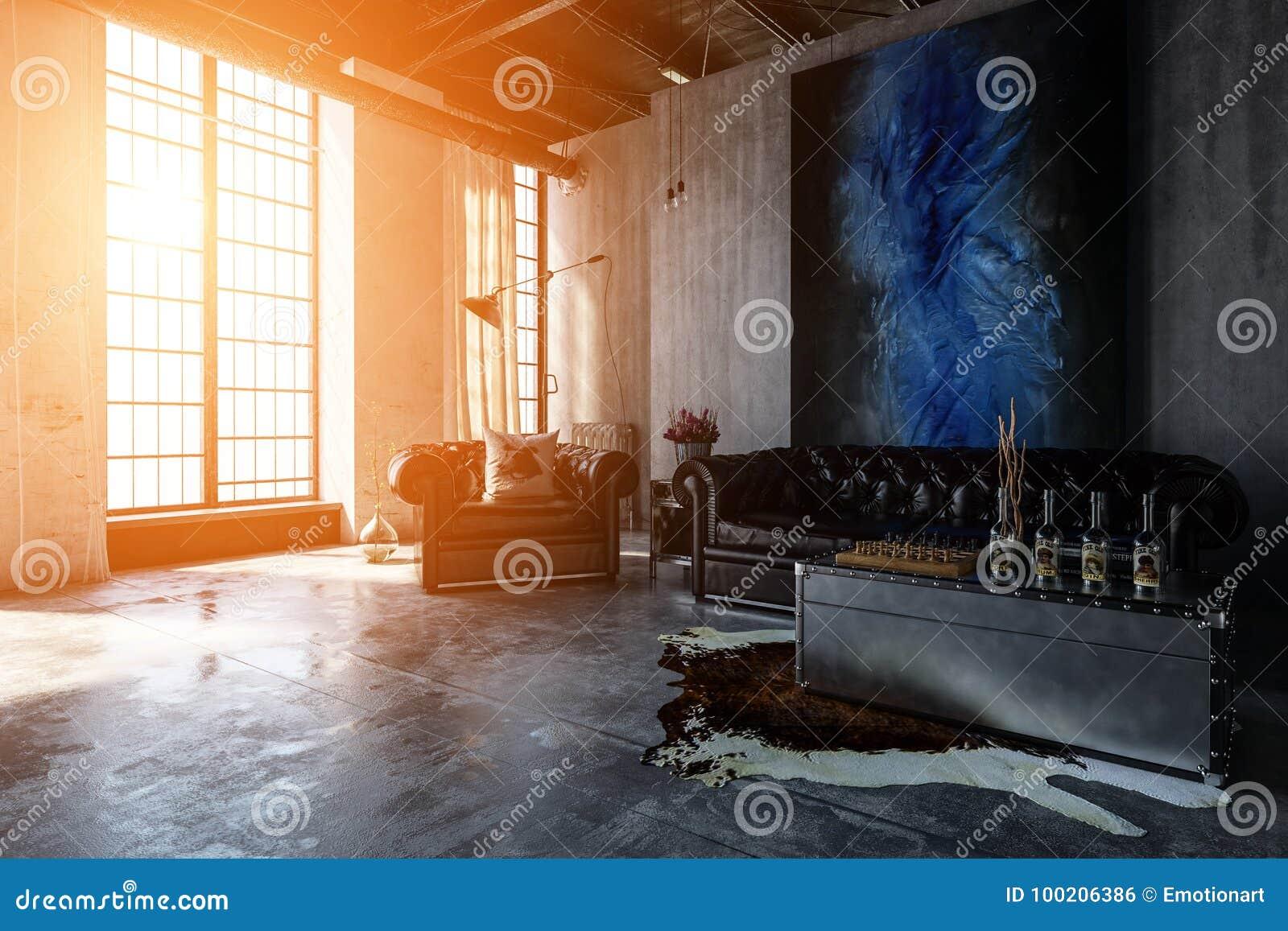 Opgepoetste concrete woonkamer met heldere vensters