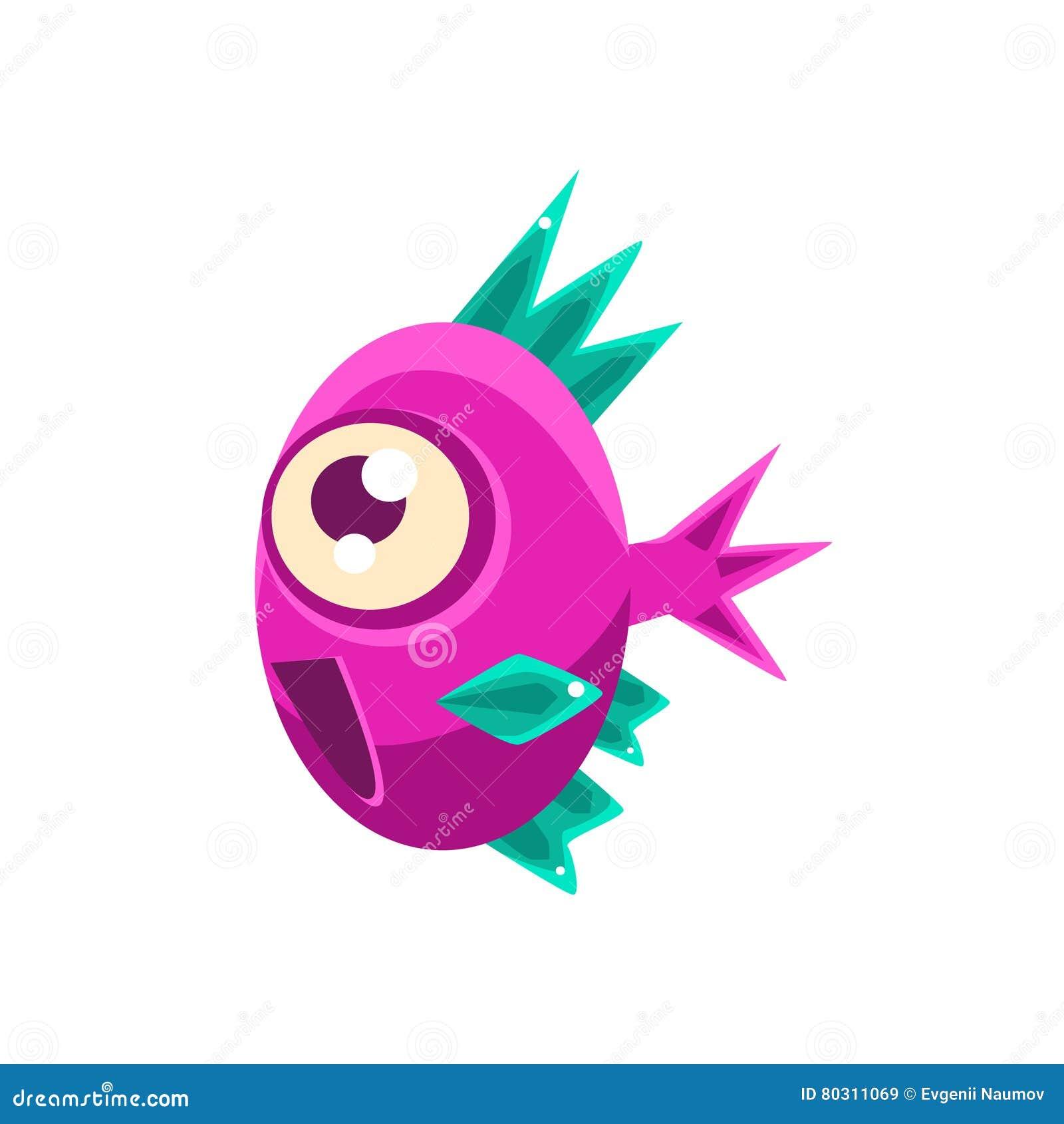 Opgewekte Roze Fantastische Aquarium Tropische Vissen met het Stekelige Turkooise Karakter van het Vinnenbeeldverhaal