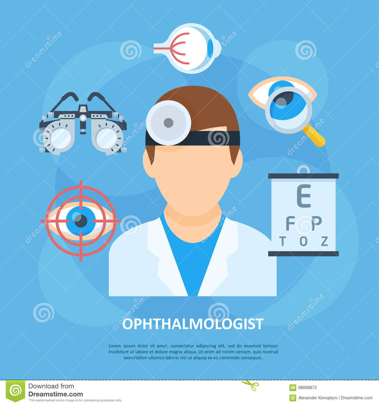 Ophthalmologist Doctor Icon Copyspace Poster Stock Vector ...