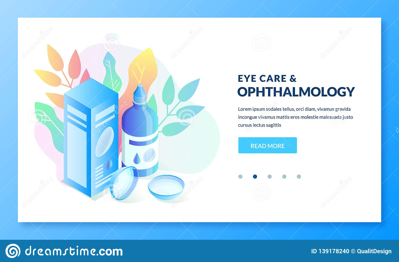 Ophthalmology and eye care, isometric gradient illustration. Landing page or banner design template