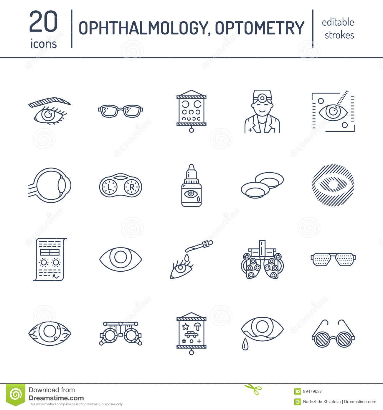 b6926bedf871 Ophthalmology, eyes health care line icons. Optometry equipment, contact  lenses, glasses, blindness. Vision correction thin linear signs for oculist  clinic.