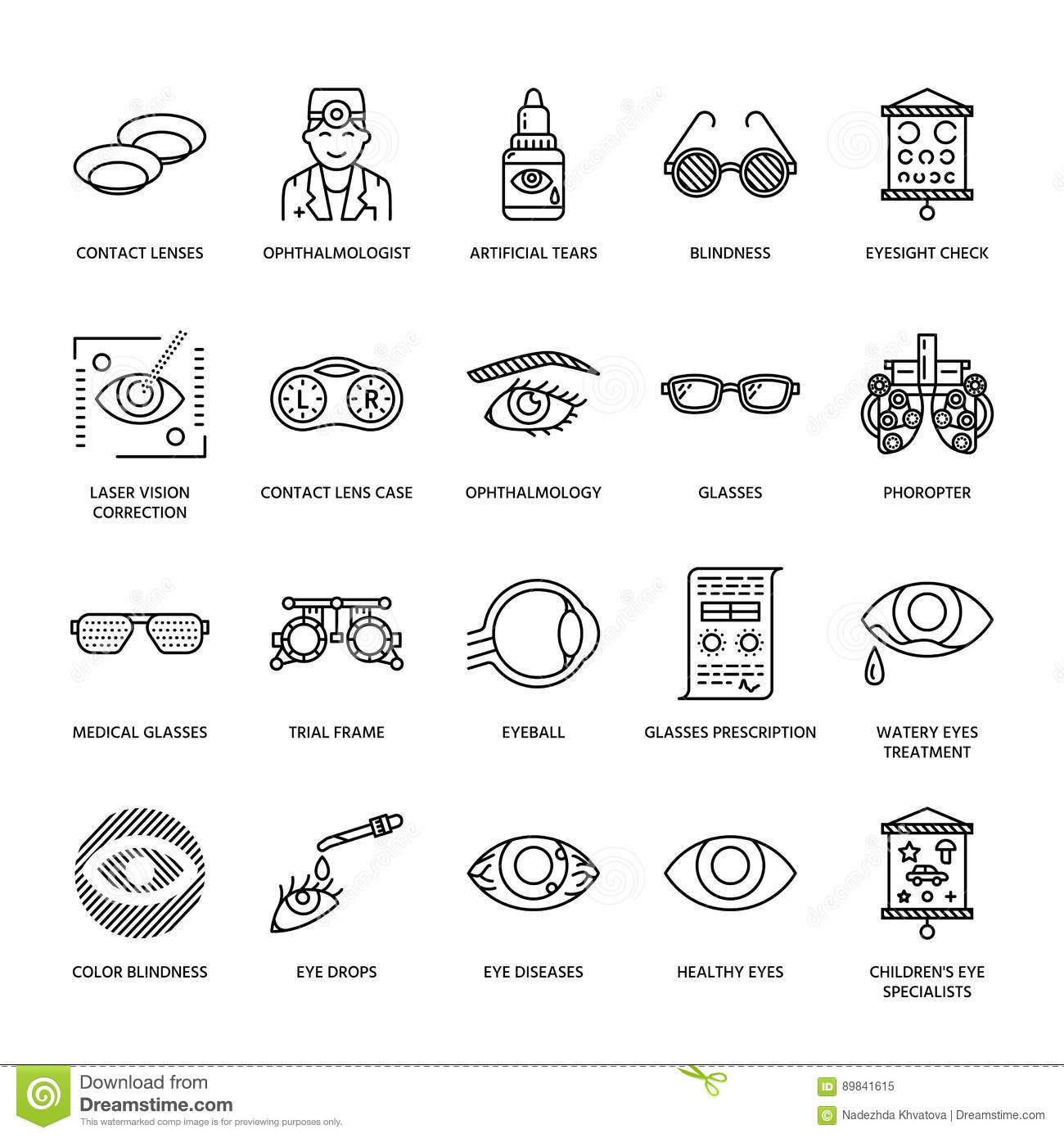 Ophthalmology Eyes Health Care Line Icons Optometry Equipment
