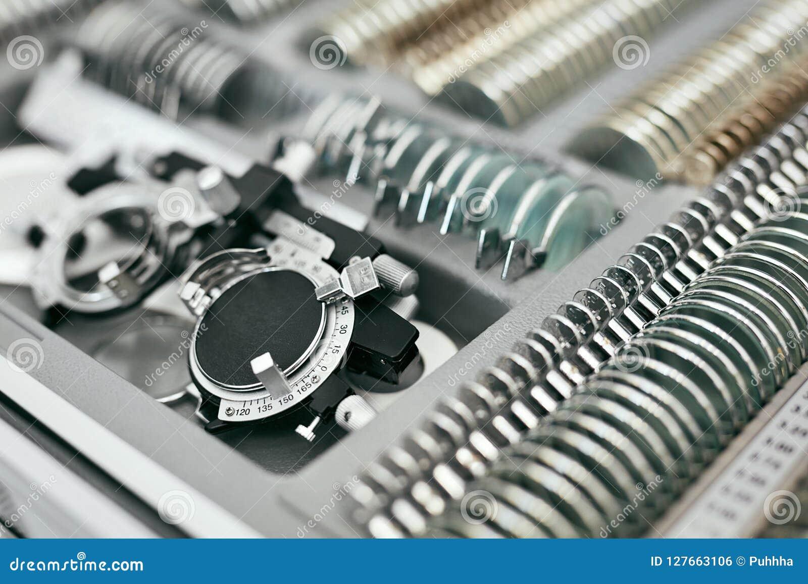 Ophthalmology Medical Equipment, Tools For Eyesight Exam Closeup