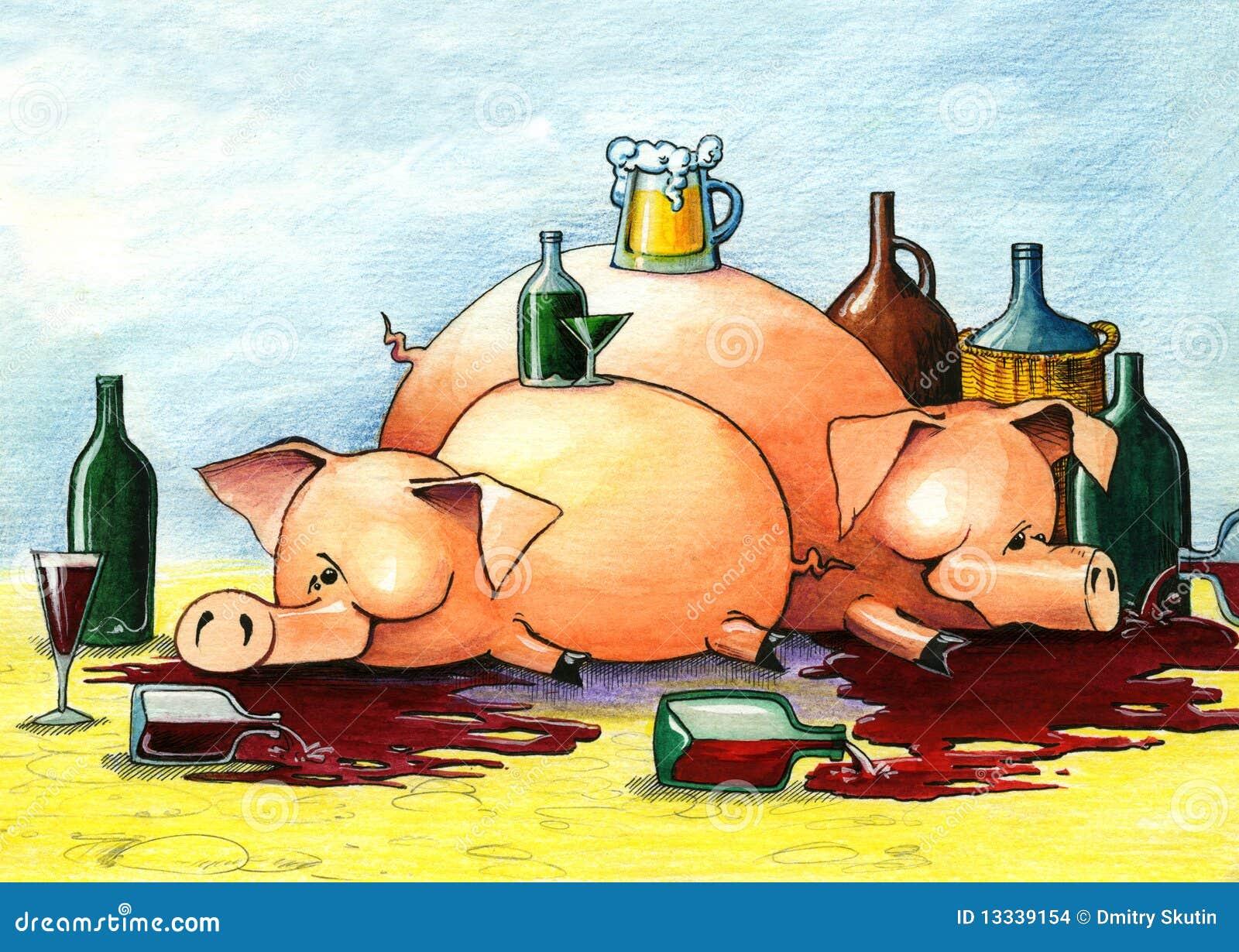 Opiłe szczęśliwe świnie