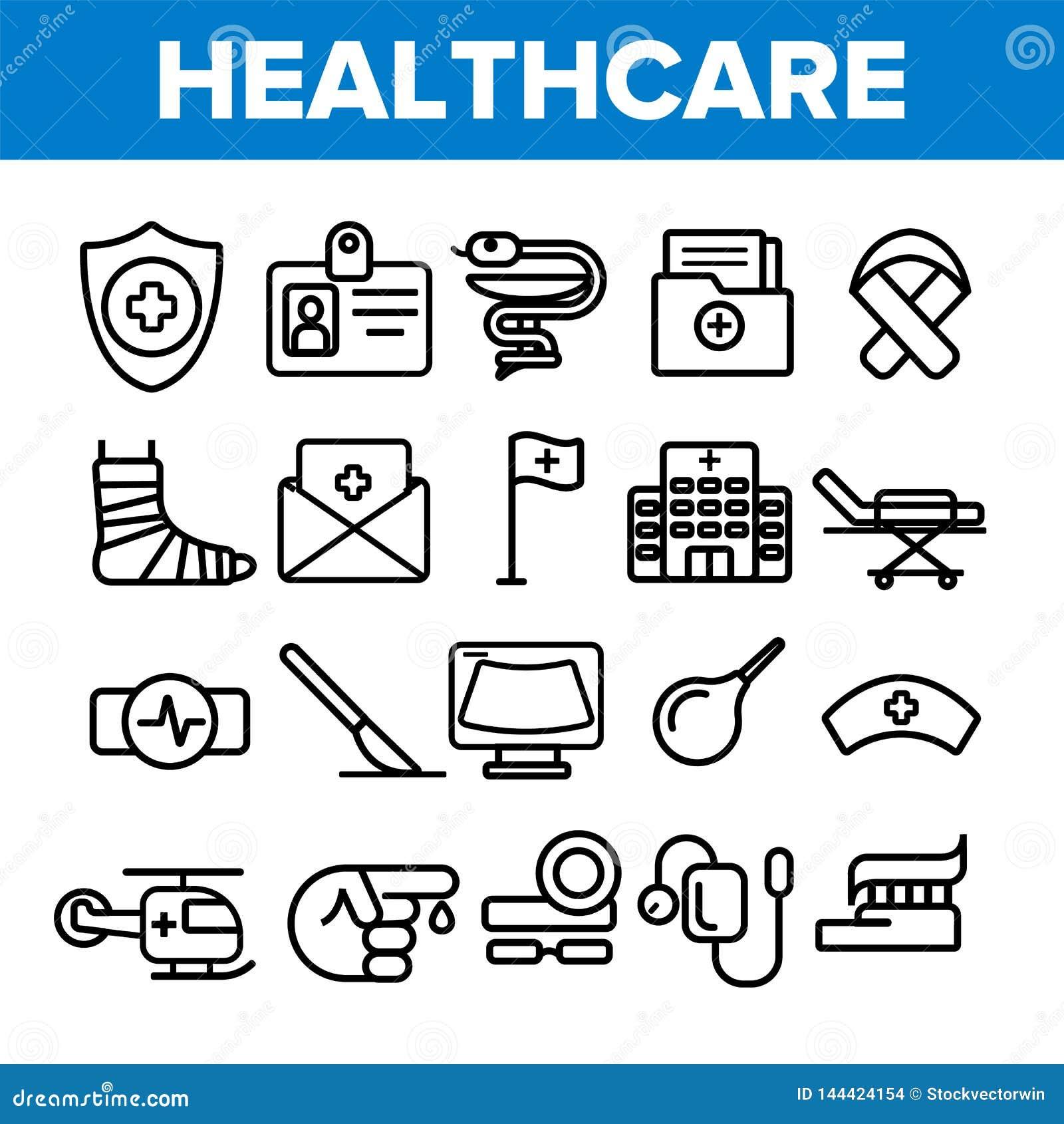 Opiek zdrowotnych Liniowe Wektorowe ikony Ustawiać Cienieją piktogram