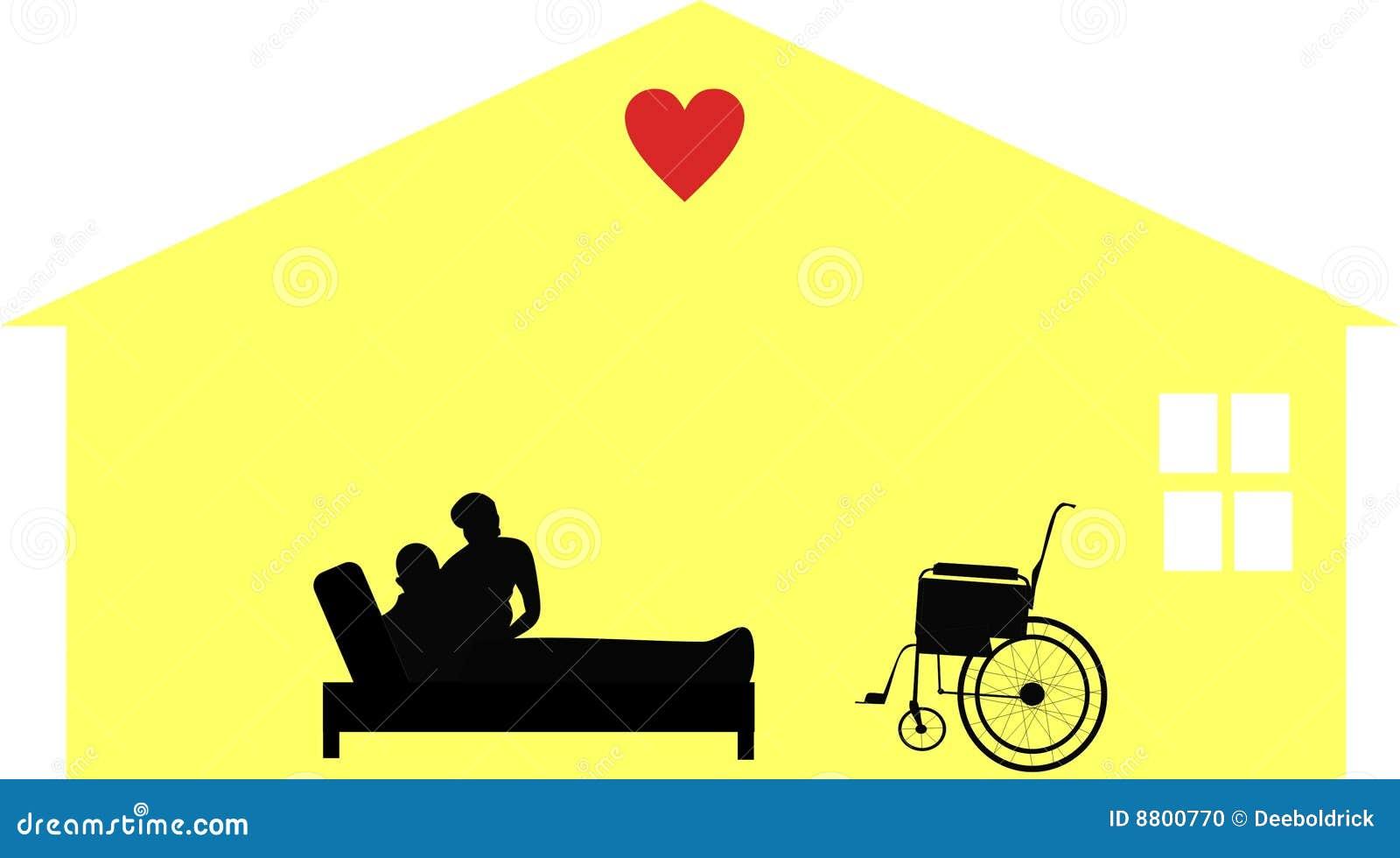 Opieka seniory domowi ilustracyjni