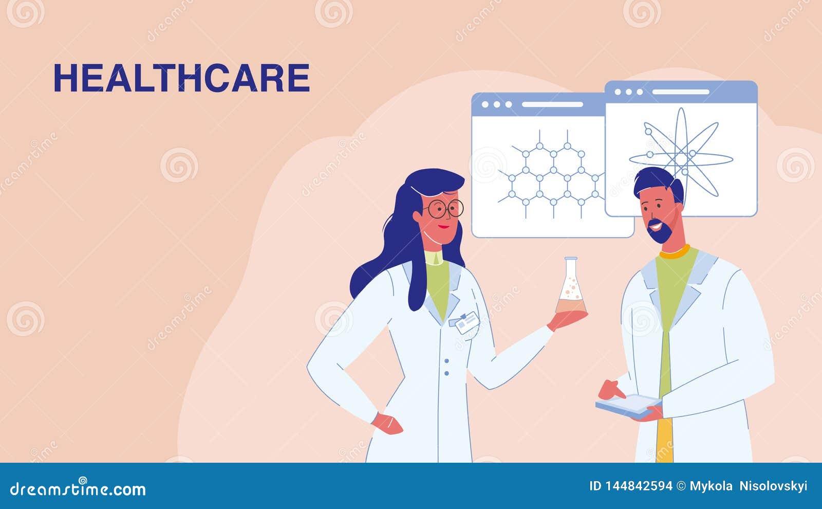 Opieka zdrowotna, badania medyczne sieci Wektorowy sztandar