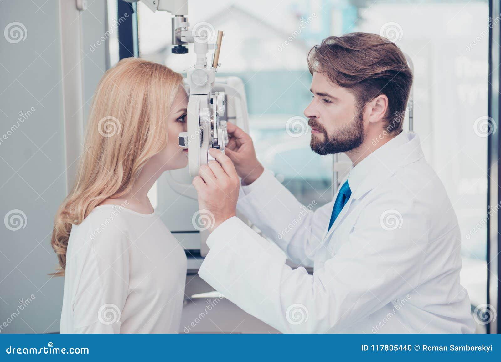 Opieka zdrowotna, medycyna, oko widok i technologii pojęcie, Boczny pr