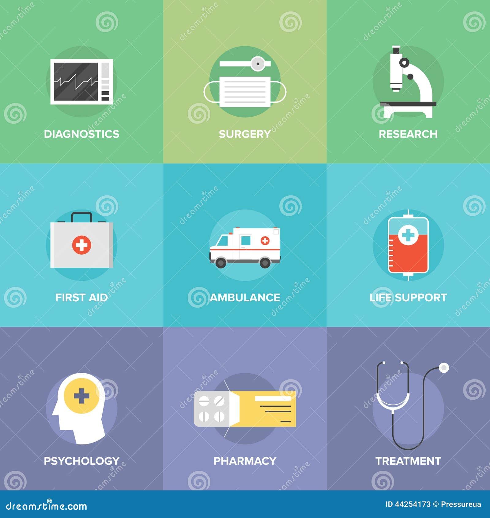 Opieki zdrowotnej i medycyny mieszkania ikony