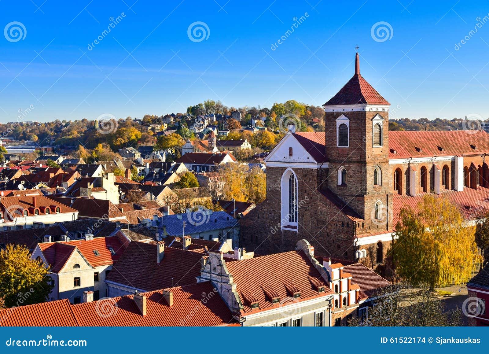 Opinião aérea da basílica da catedral de Kaunas