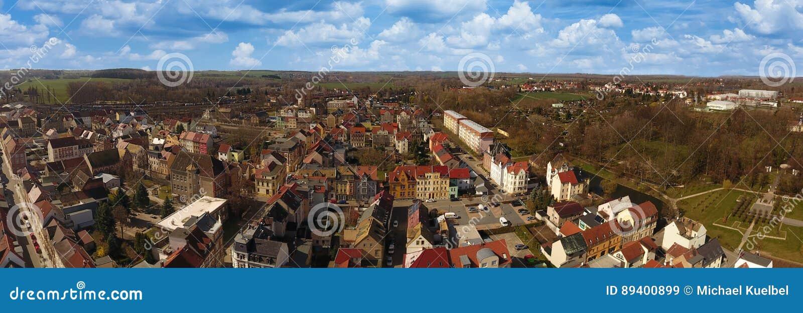 Opinião aérea da cidade velha do mercado de Meueslwitz