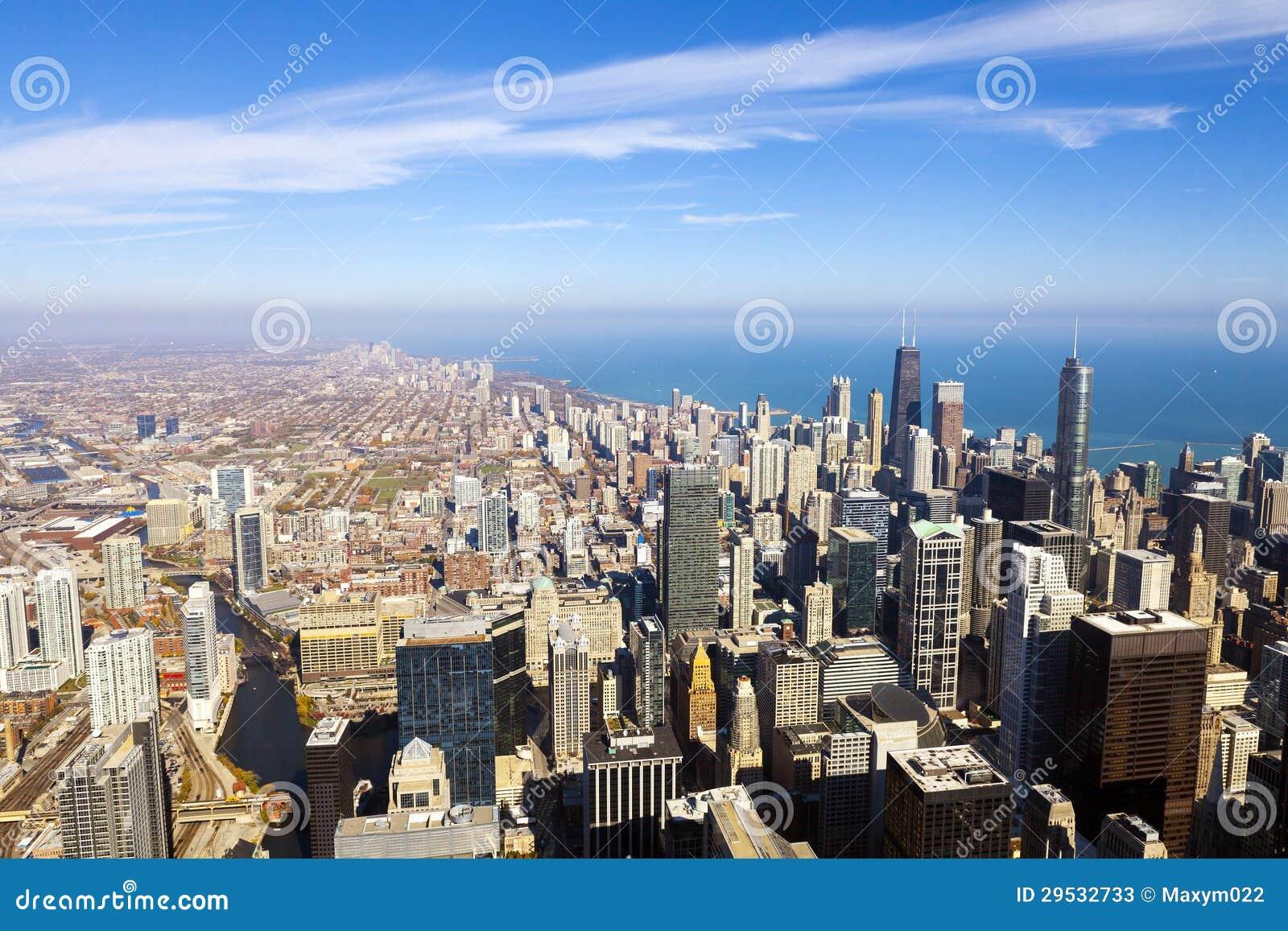 Opinião aérea da skyline de Chicago
