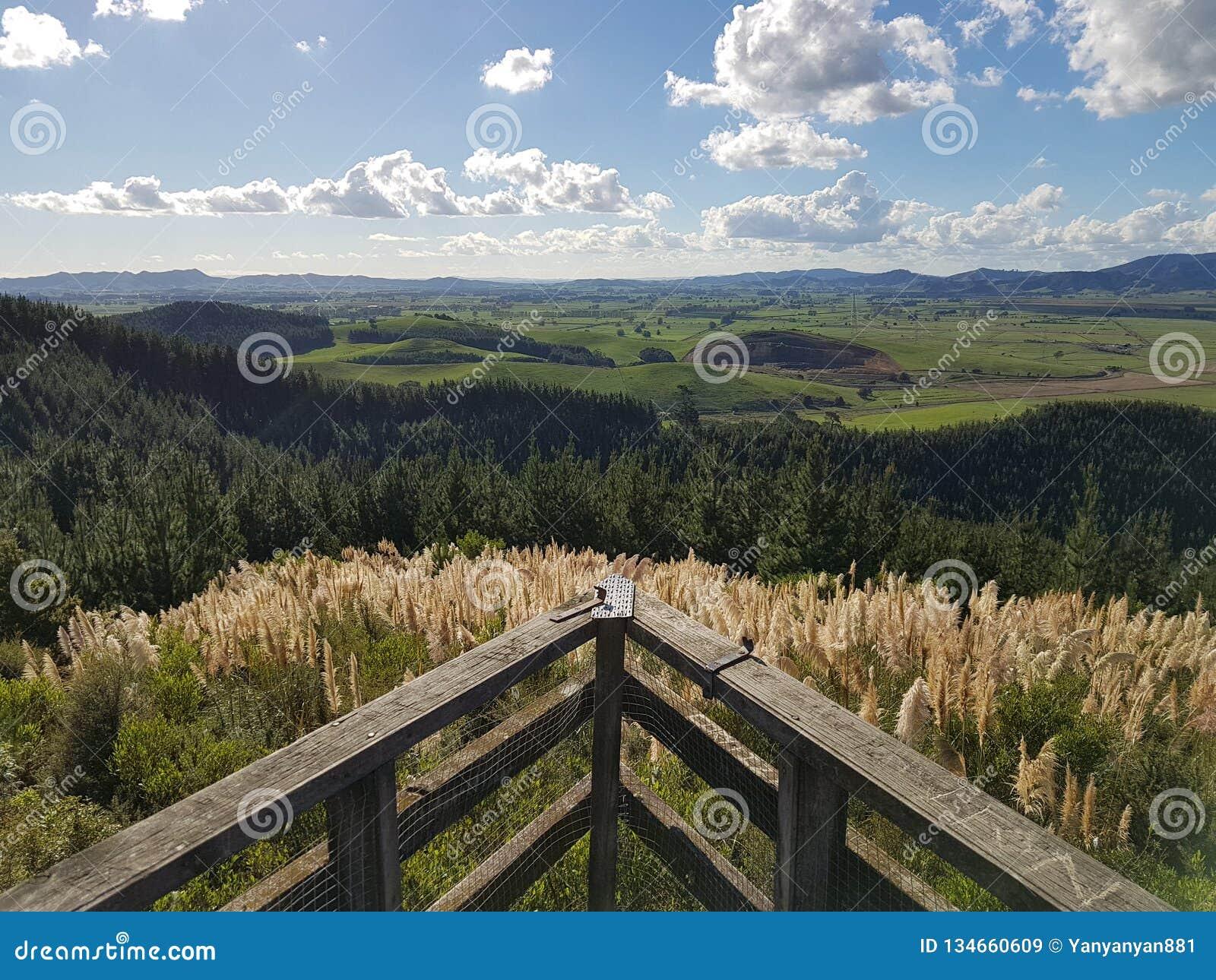 Opinião calma da paisagem de uma plataforma de vista