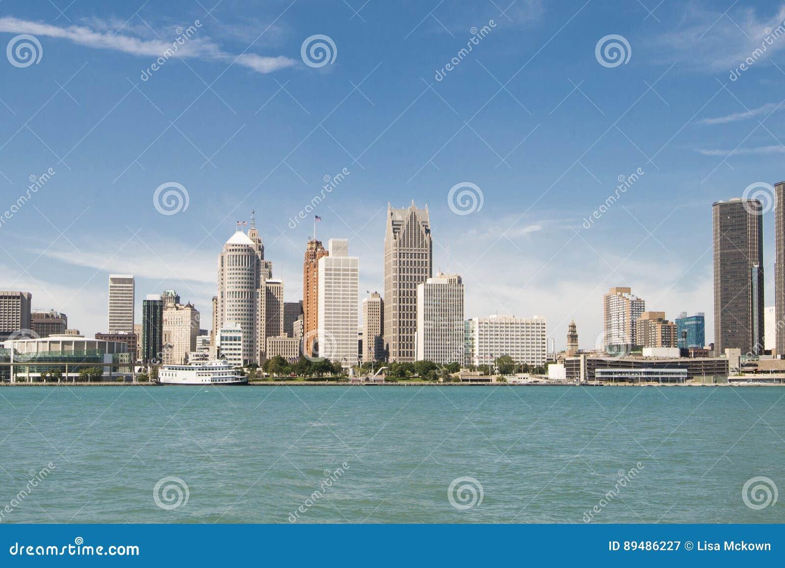 Opinião da arquitetura da cidade de Detroit Michigan