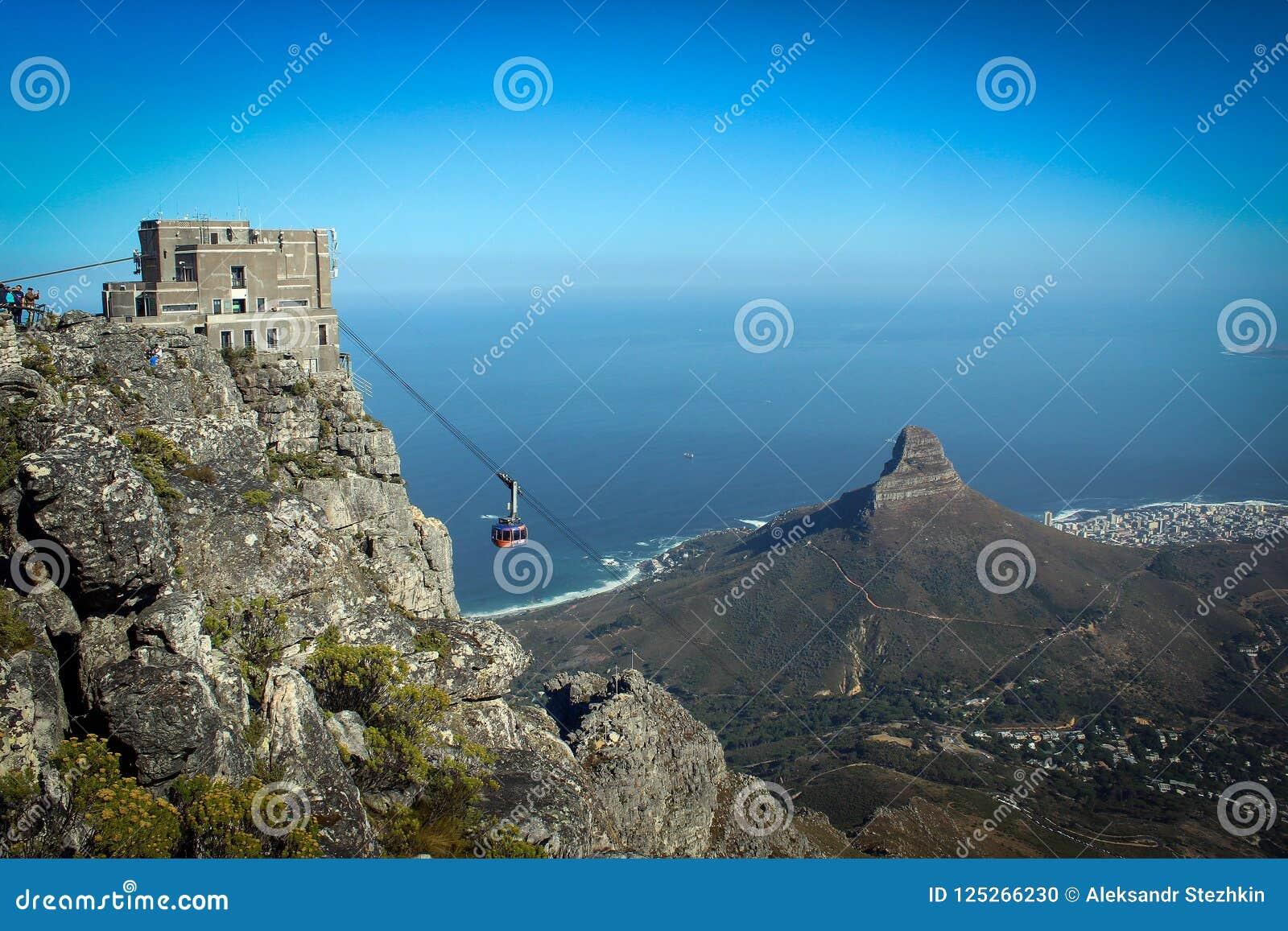 Opinião da estação do teleférico sobre a montagem da tabela, Cape Town