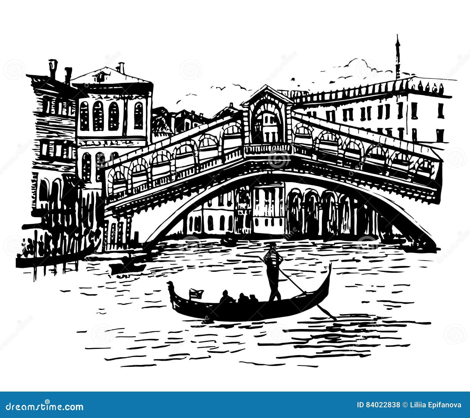 Opinião da imagem do fundo a lagoa, a ponte de Rialto e o gondoleiro em Veneza