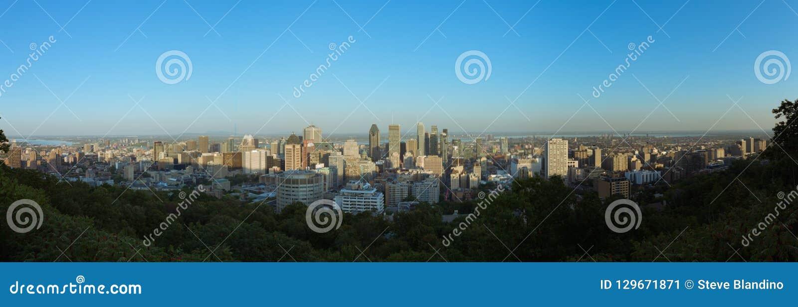Opinião da skyline de Montreal da montagem real