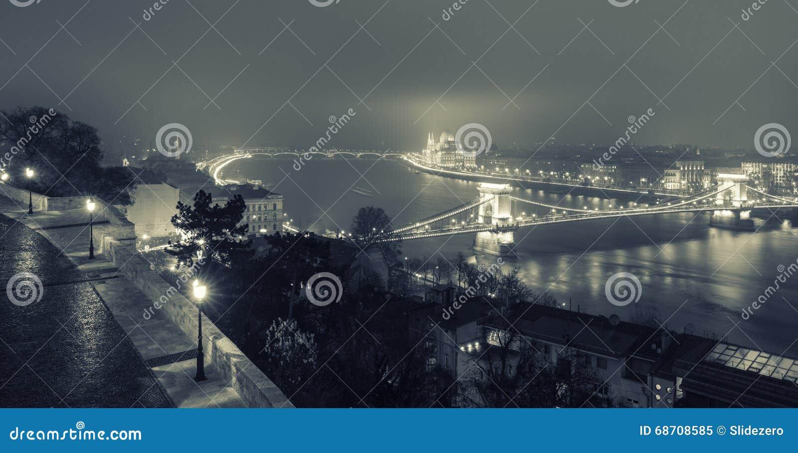 Opinião de Budapest na ponte Chain