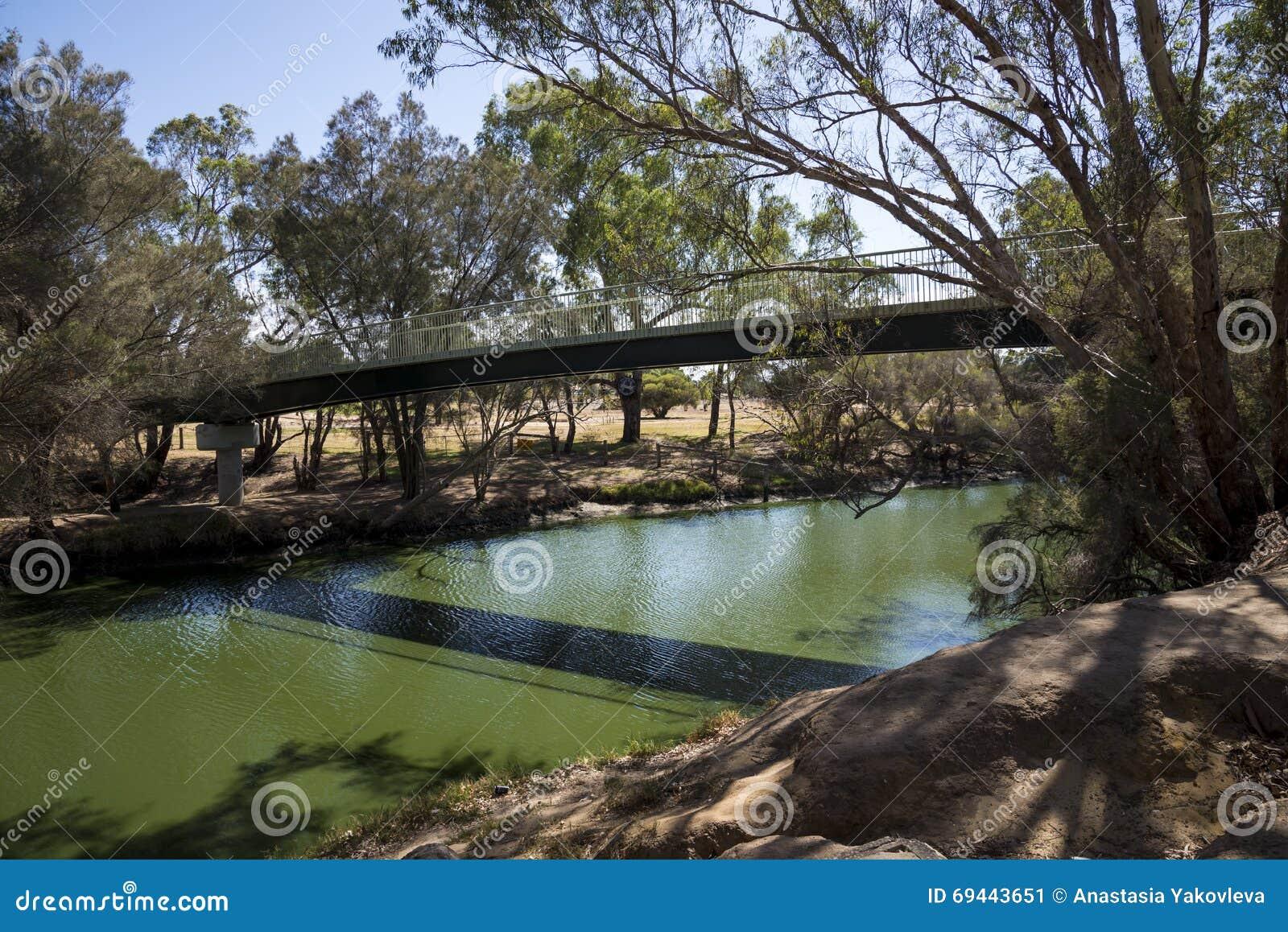 Opinião de Maali Bridge através do rio da cisne na cisne Va da Austrália Ocidental