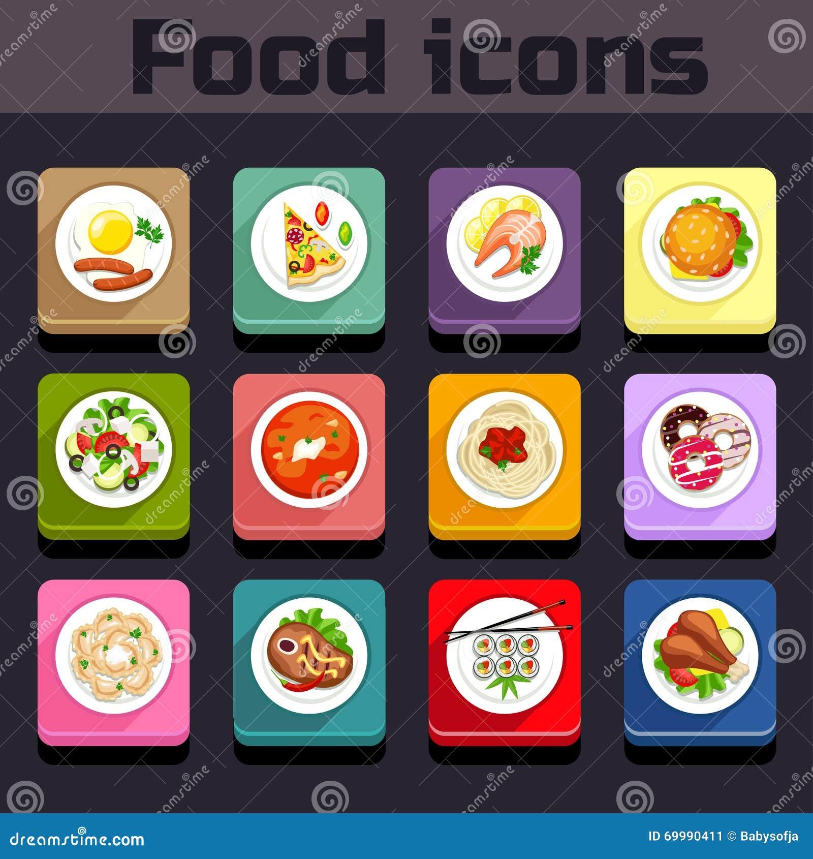 Opinião de plano da refeição dos ícones