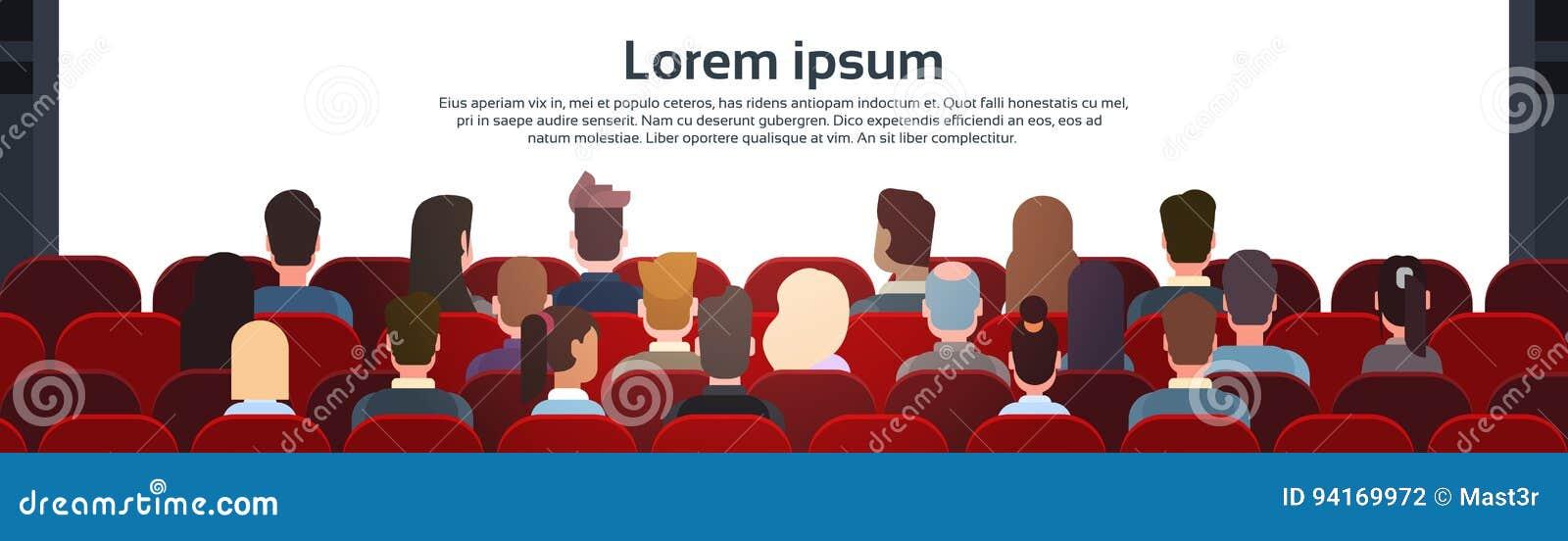 Opinião de Sit Cinema Hall Back Rear dos povos que olha a tela da AR com espaço da cópia