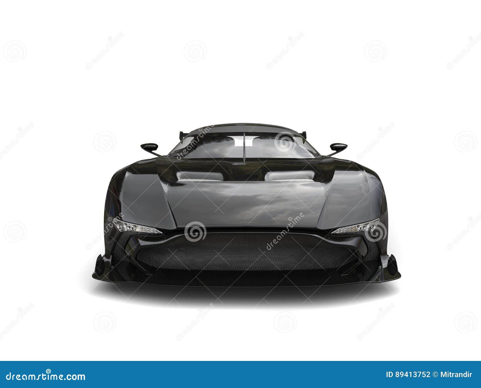 Opinião dianteira automobilístico dos esportes modernos pretos brilhantes