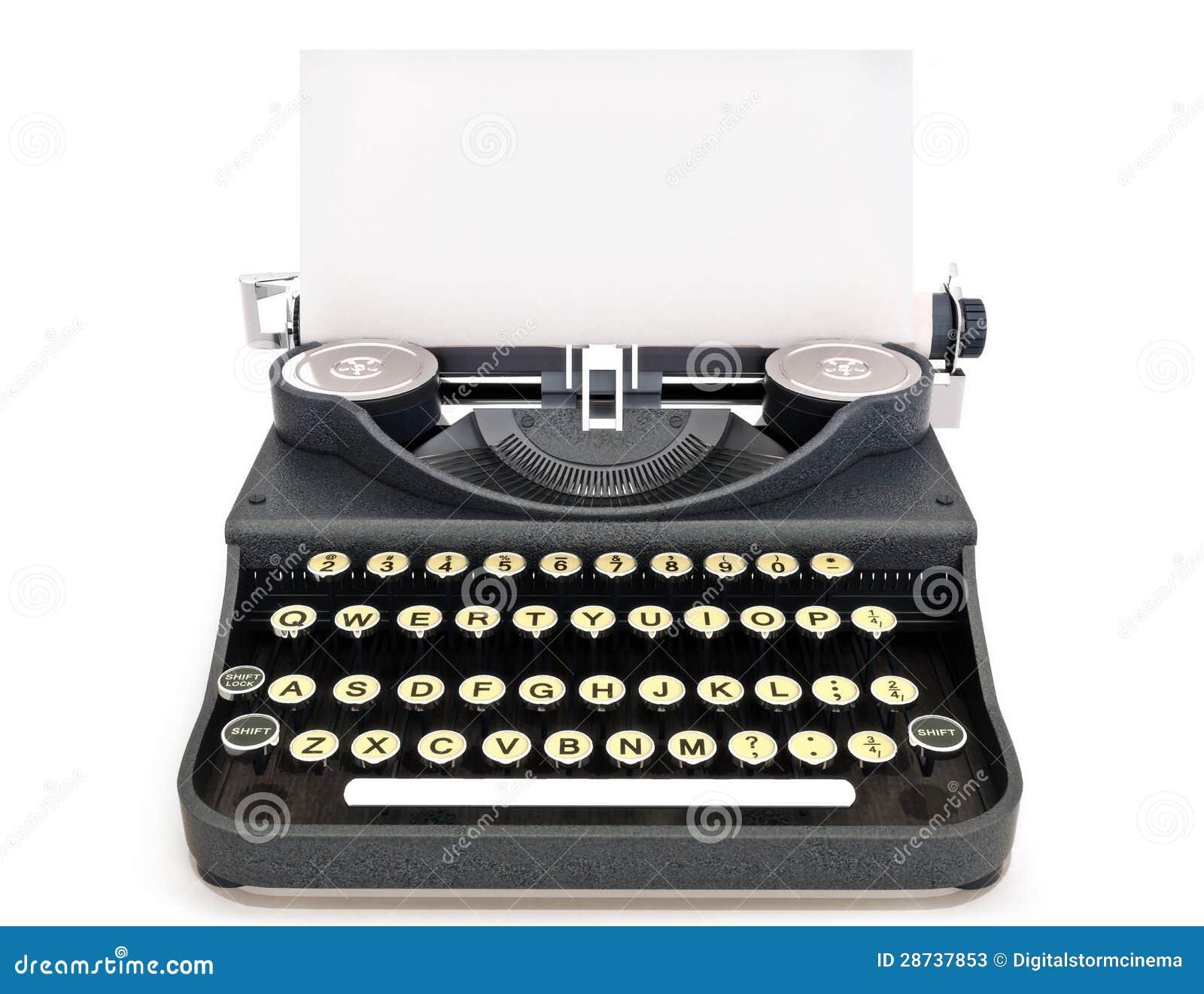 Opinião dianteira da máquina de escrever retro do vintage com papel