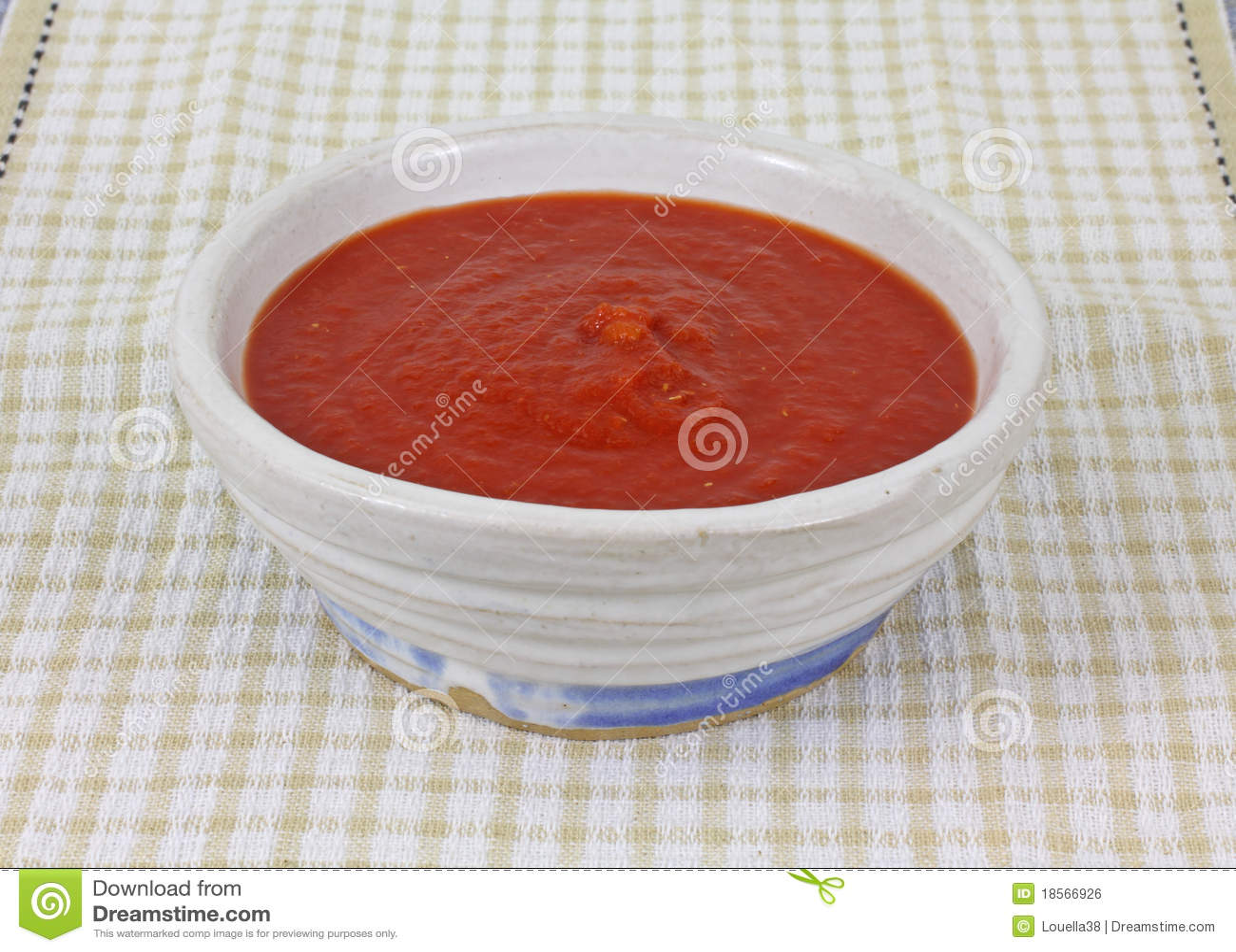 Opinião dianteira de pano Checkered fresco do molho do tomate