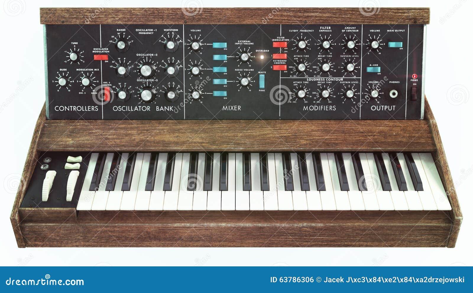 Opinião dianteira do sintetizador clássico análogo